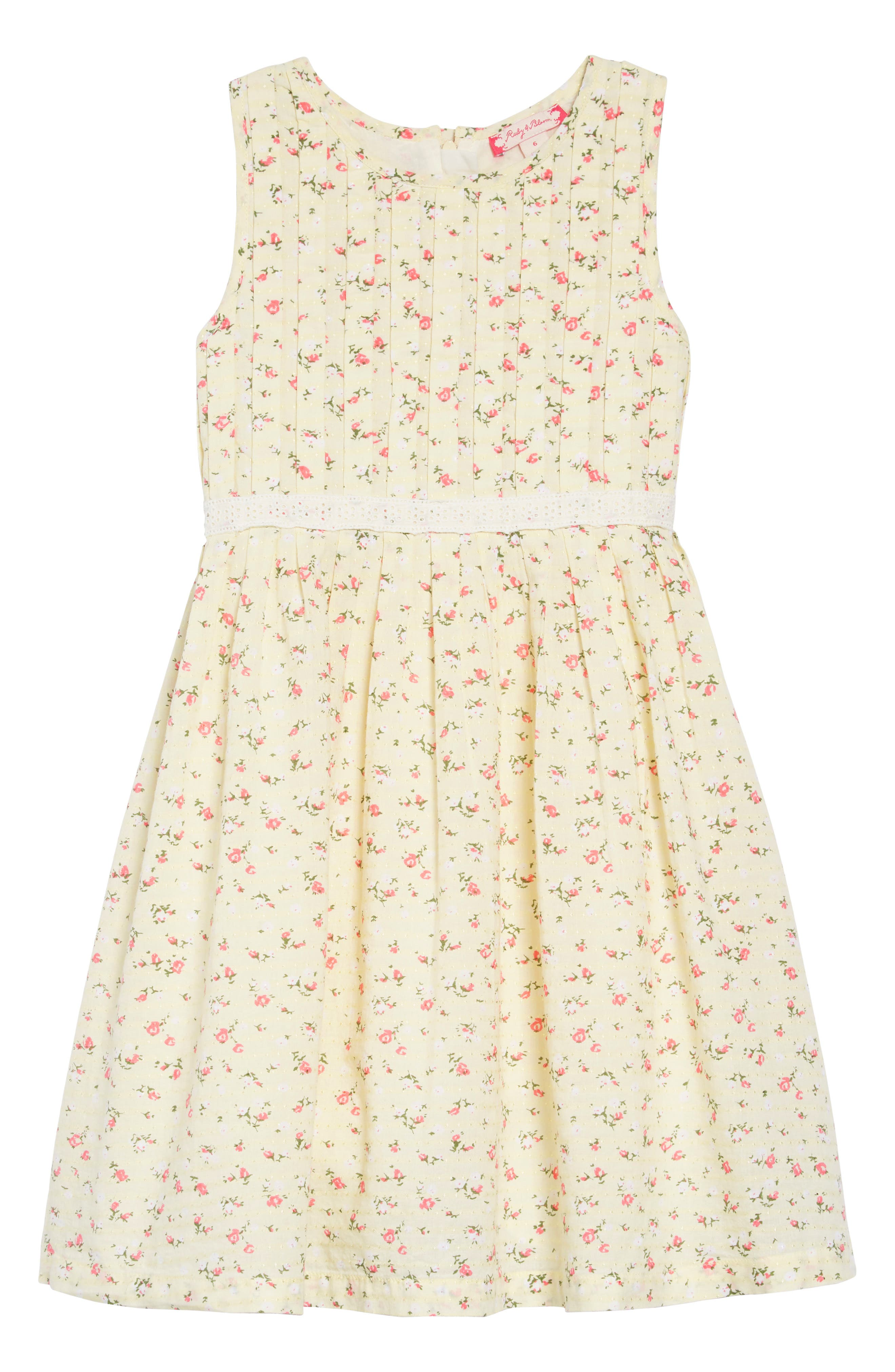 RUBY & BLOOM Dobby Floral Pleat Dress, Main, color, YELLOW SOFT SUNSHINE DITSY