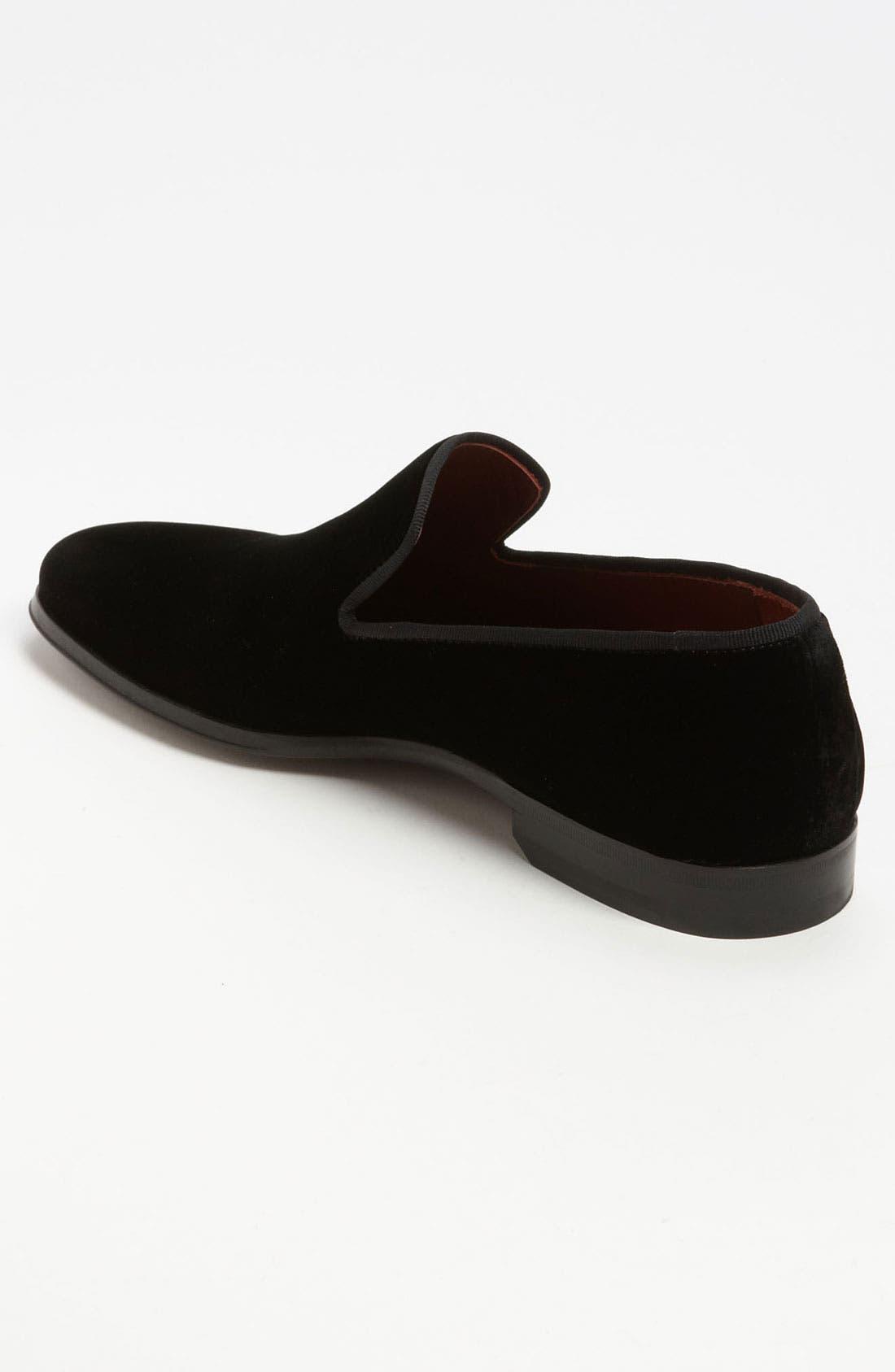 MAGNANNI, 'Dorio' Velvet Venetian Loafer, Alternate thumbnail 2, color, BLACK