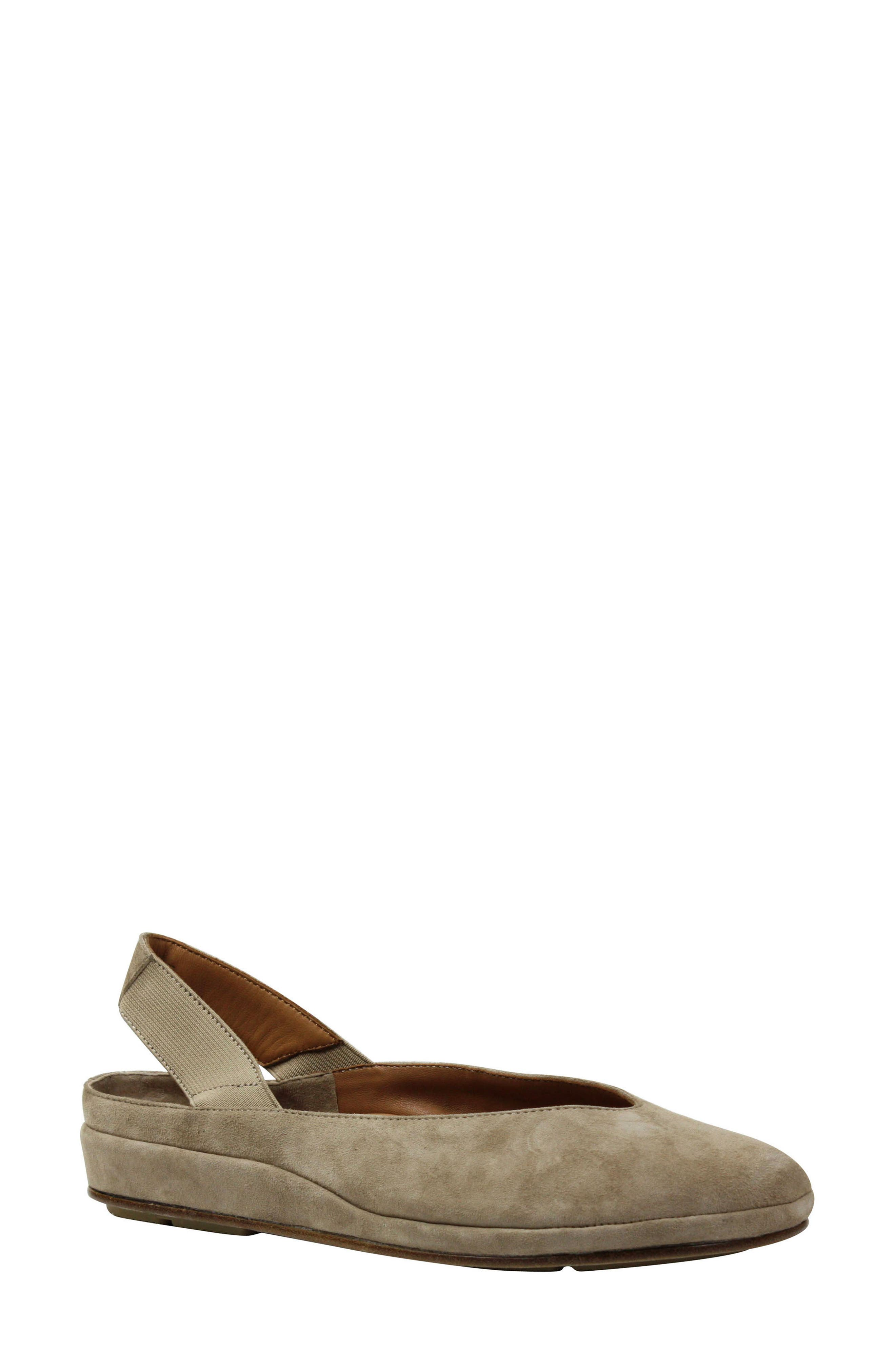 L'AMOUR DES PIEDS, 'Cypris' Slingback Wedge, Main thumbnail 1, color, TAUPE SUEDE