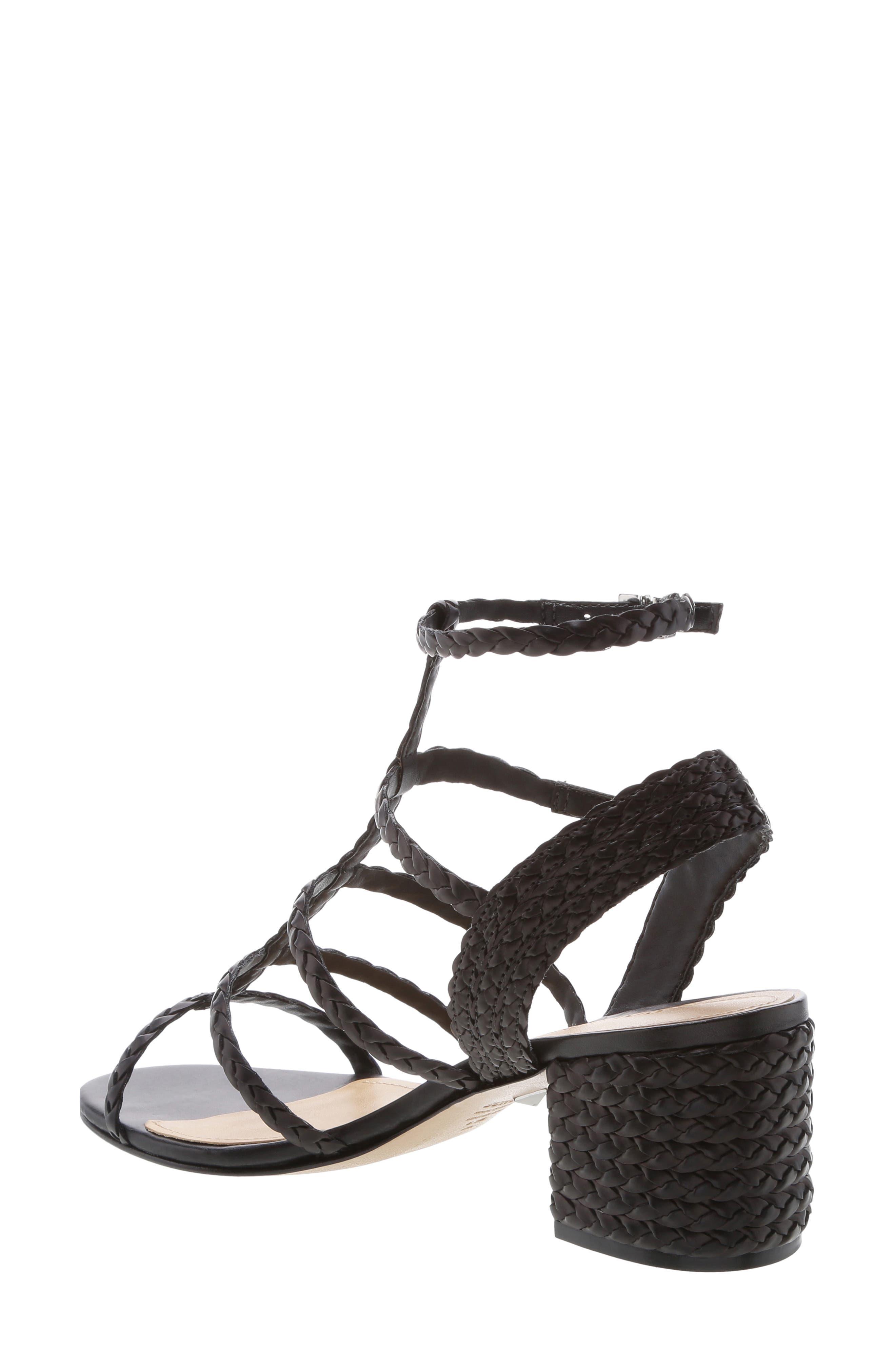 SCHUTZ, Rosalia Block Heel Sandal, Alternate thumbnail 2, color, BLACK LEATHER
