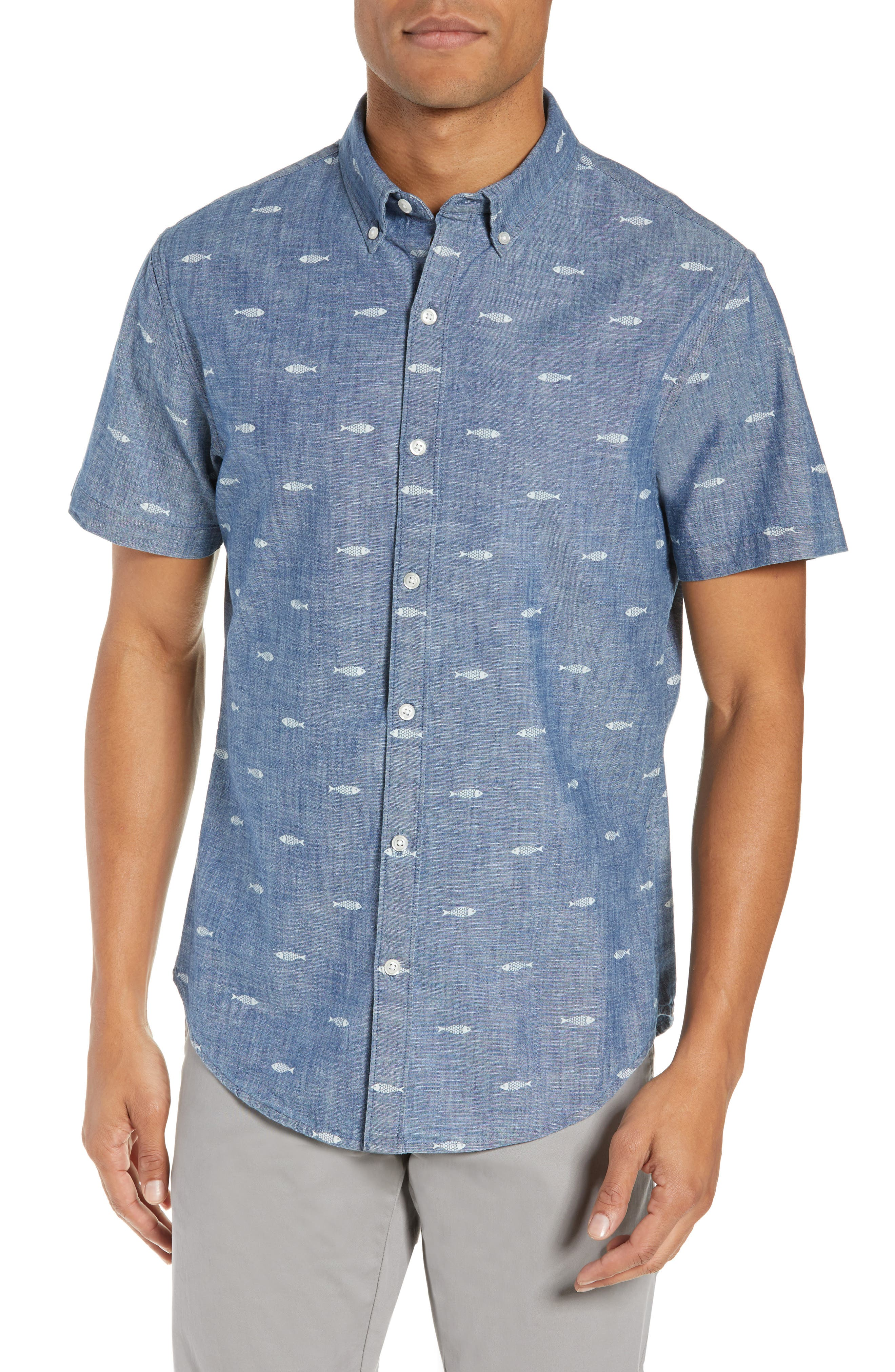 BONOBOS, Riviera Slim Fit Print Sport Shirt, Main thumbnail 1, color, CHAMBRAY SARDEEN SCATTER