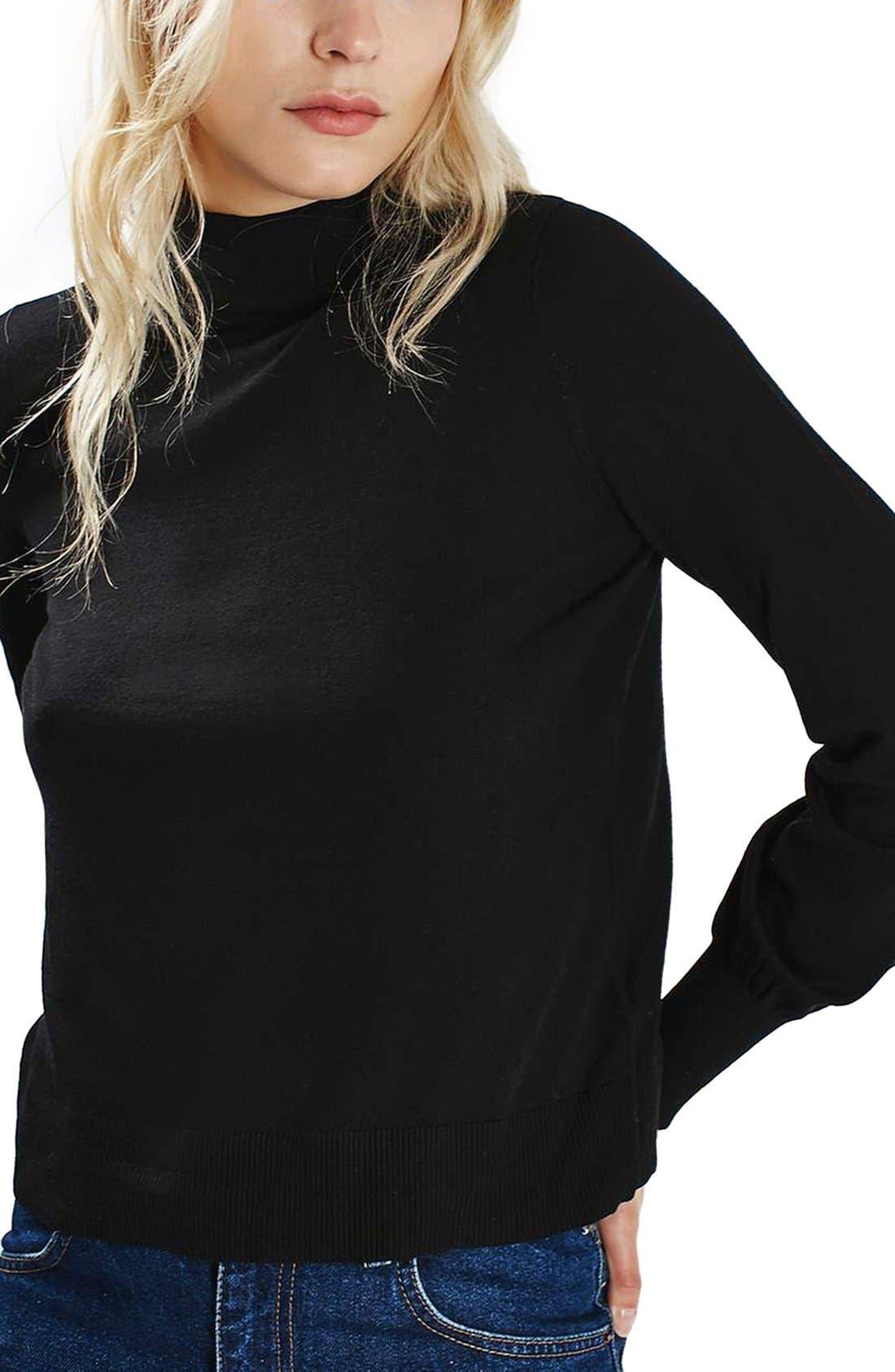 TOPSHOP, Blouson Sleeve Mock Neck Sweater, Main thumbnail 1, color, 001