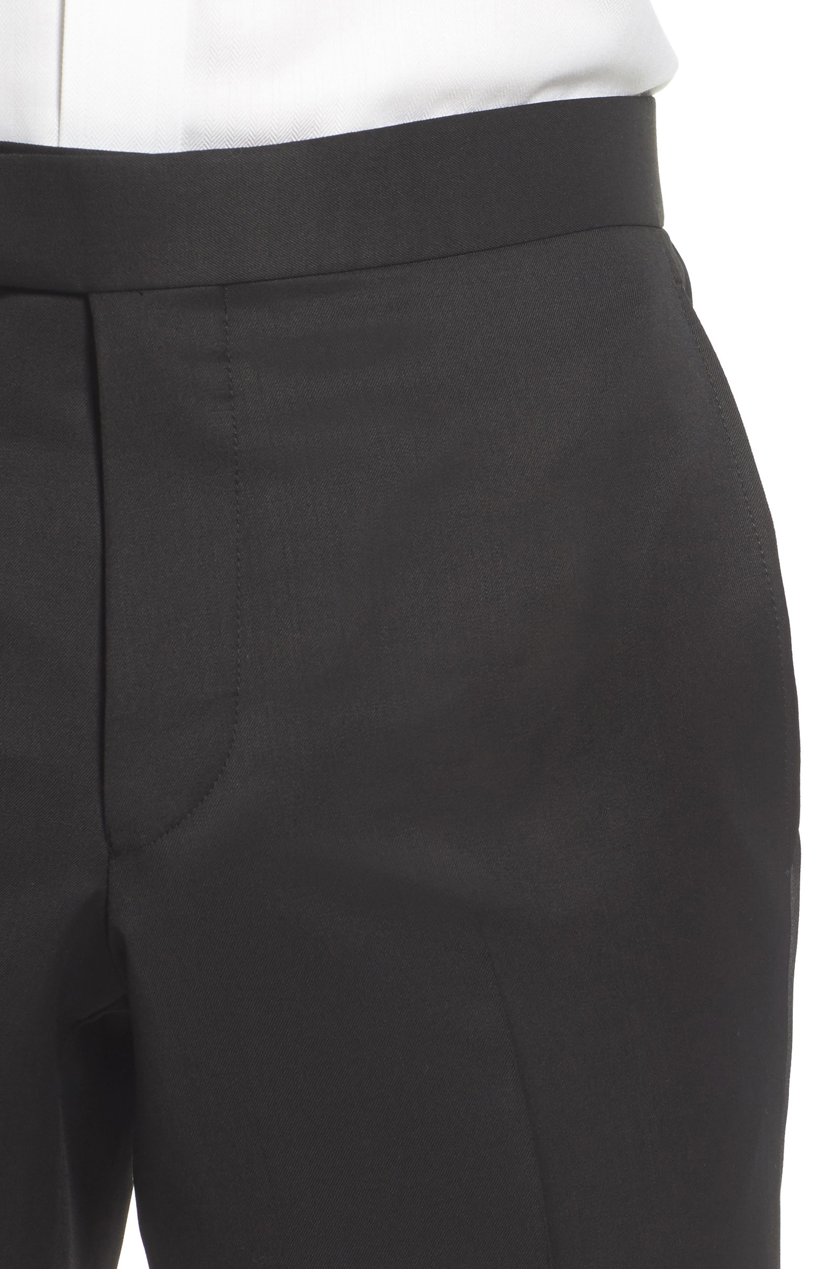 TED BAKER LONDON, Josh Flat Front Wool & Mohair Tuxedo Pants, Alternate thumbnail 5, color, BLACK