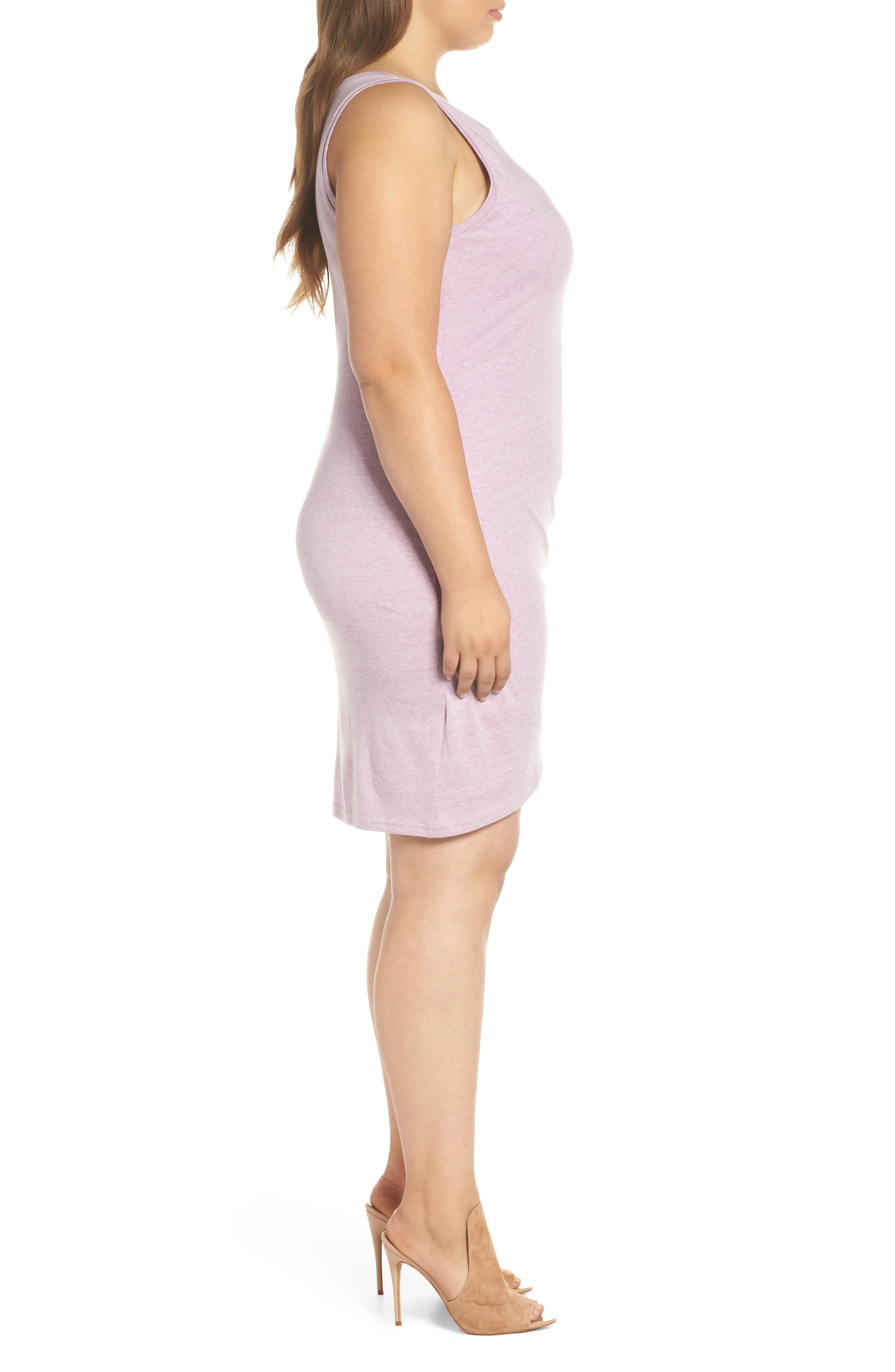 LEITH, Ruched Sheath Dress, Alternate thumbnail 4, color, PURPLE GALE HEATHER