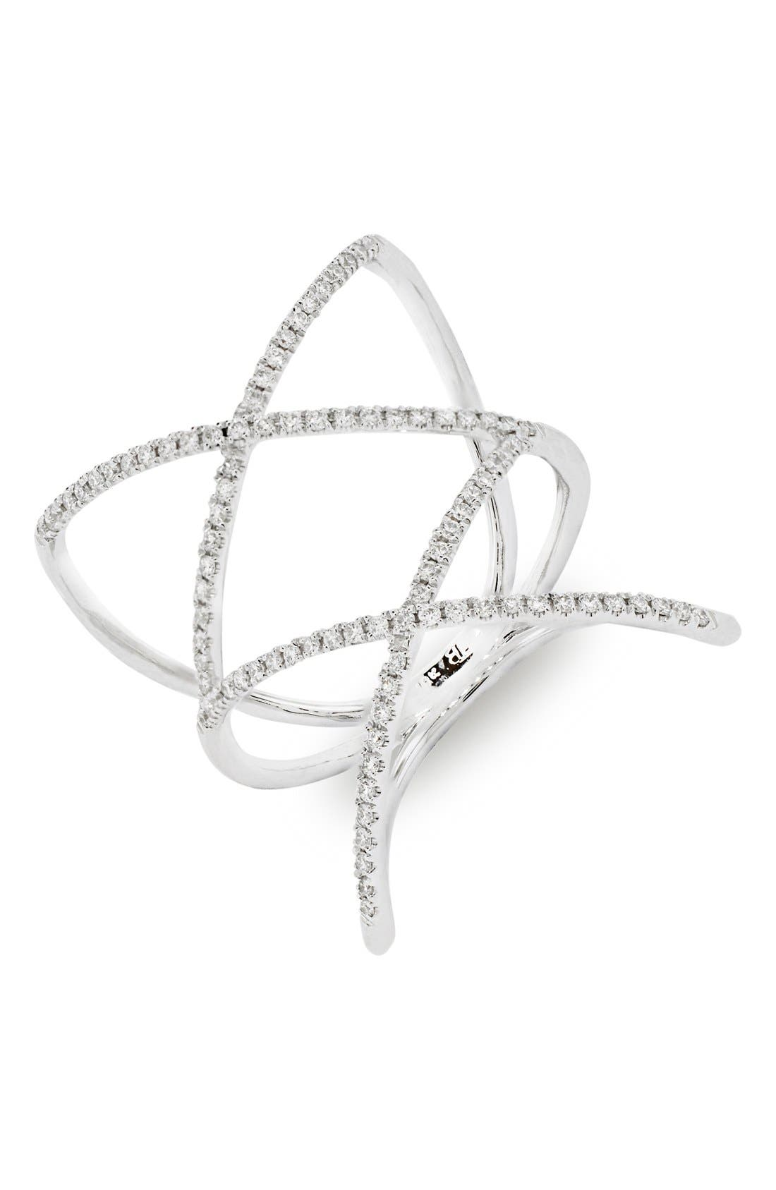 BONY LEVY, Diamond Double Crisscross Ring, Main thumbnail 1, color, WHITE GOLD
