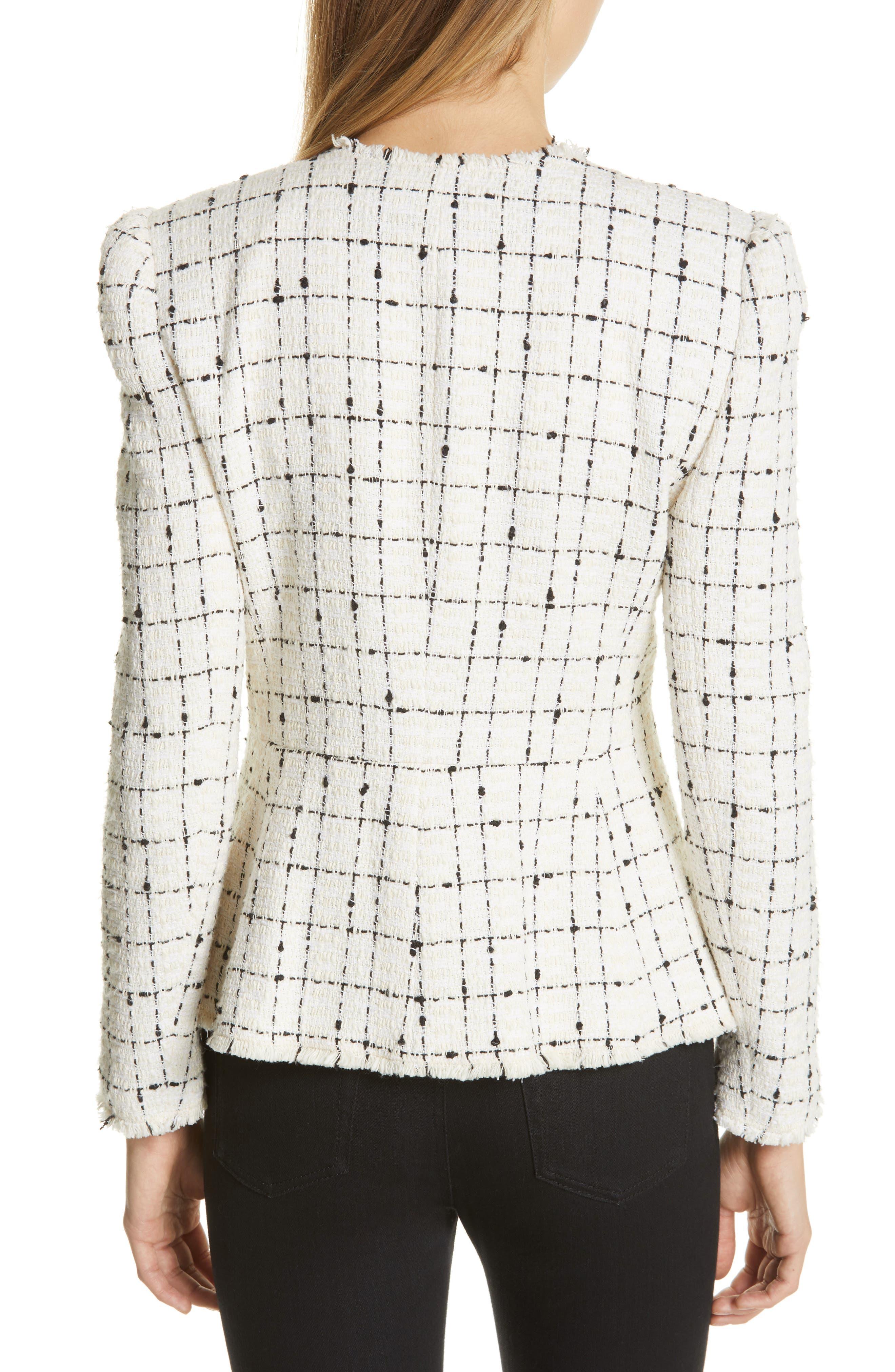 REBECCA TAYLOR, Plaid Tweed Zip Jacket, Alternate thumbnail 2, color, CREAM COMBO