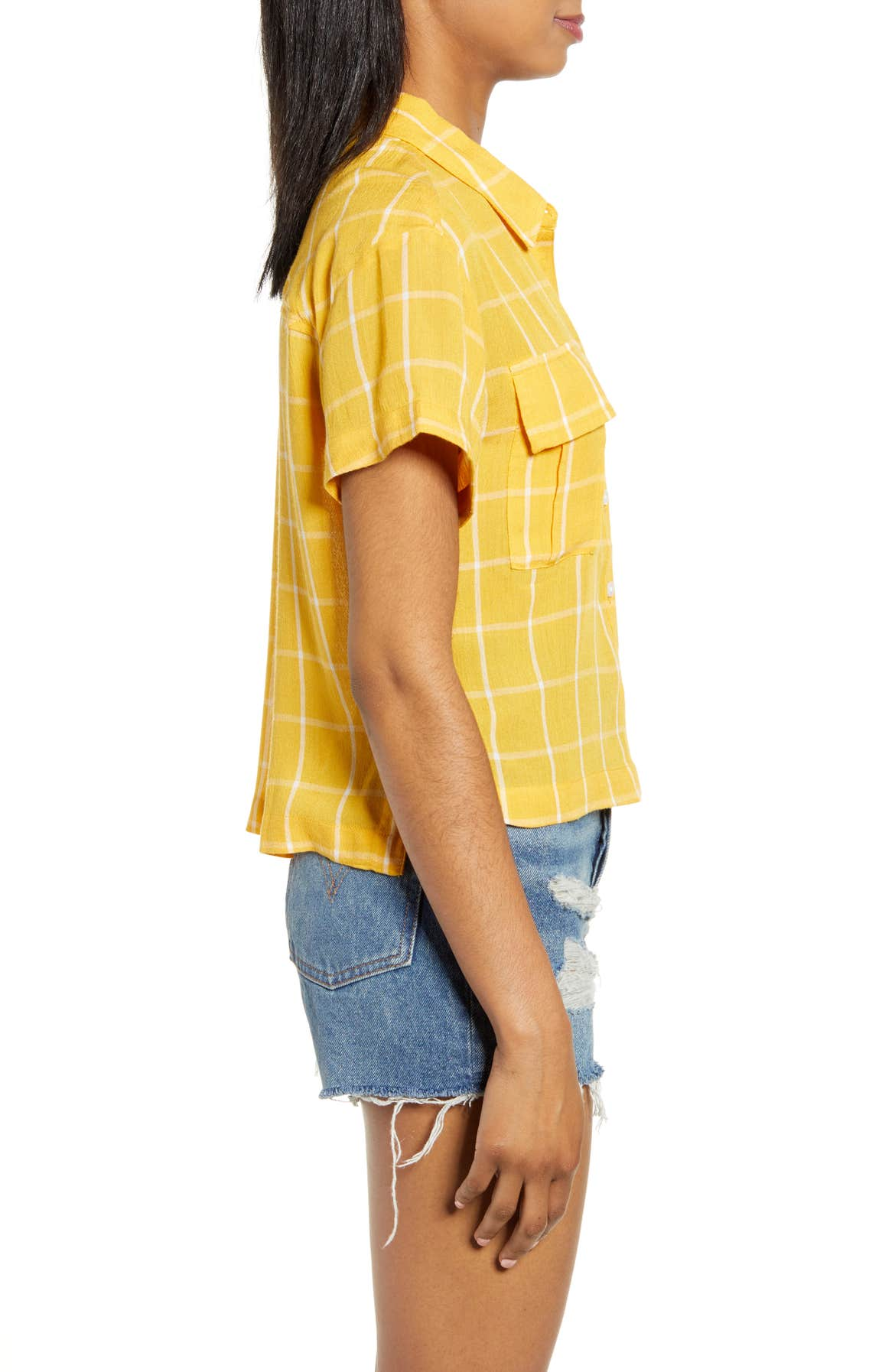 BP. Drop Shoulder Plaid Shirt, Alternate, color, YELLOW WHIP MARCY PLAID