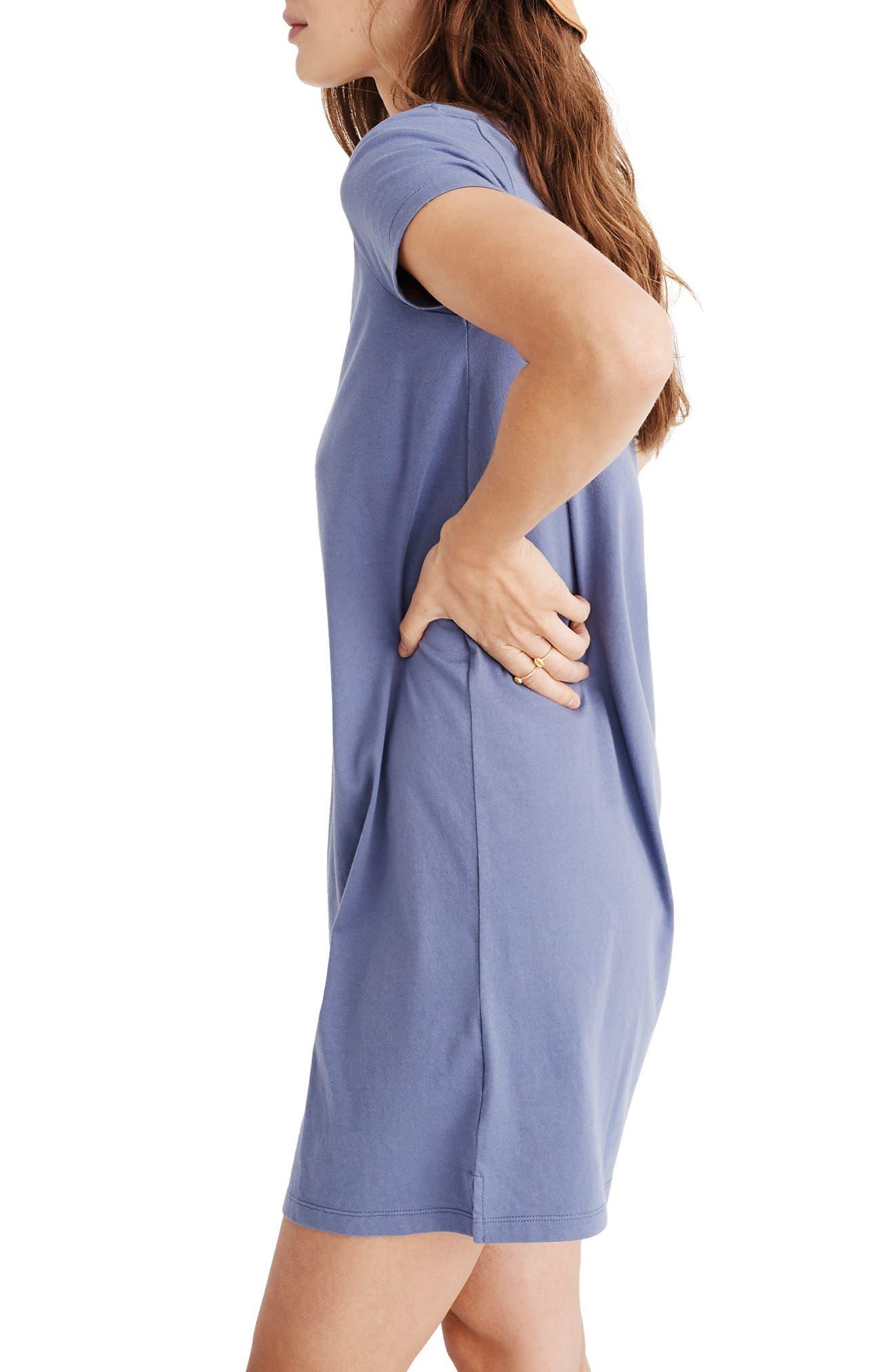 MADEWELL, Northside V-Neck T-Shirt Dress, Alternate thumbnail 3, color, PALE SHADOW