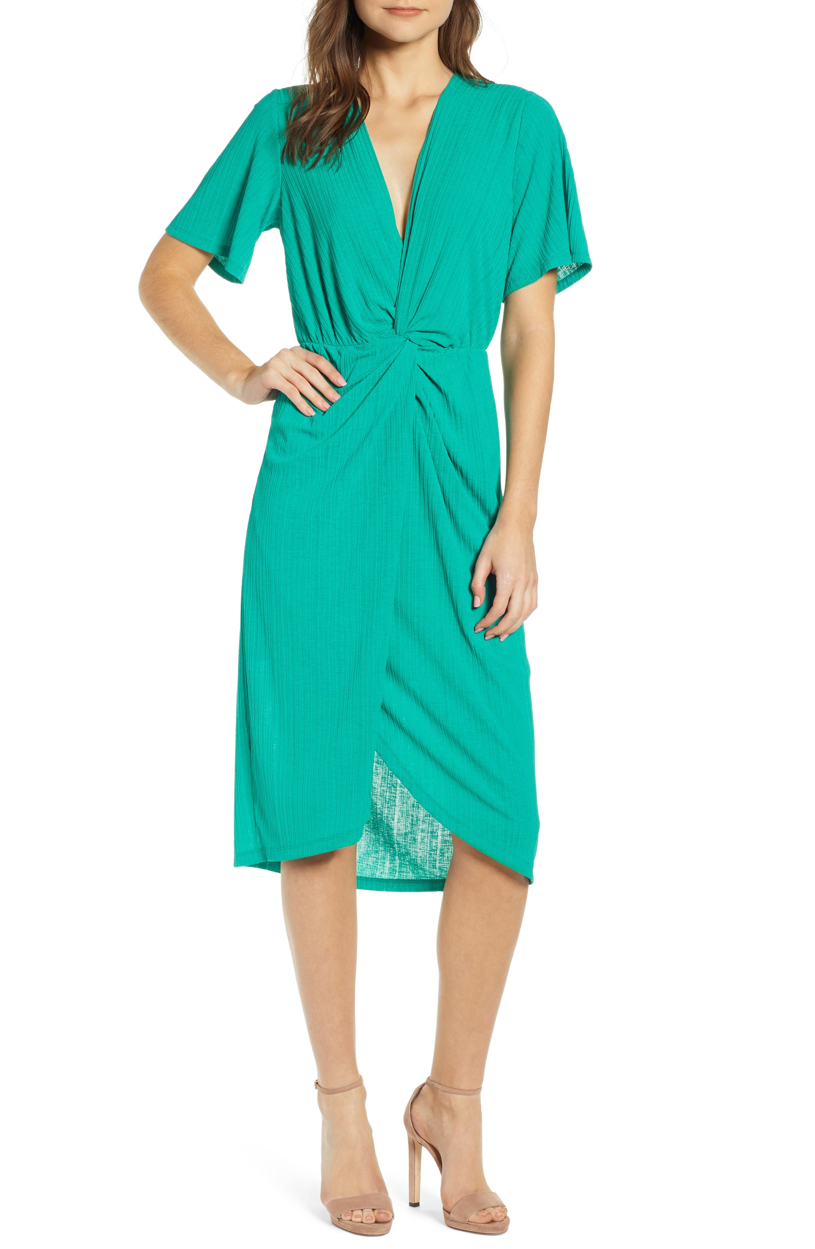 ALL IN FAVOR Knot Front Midi Dress, Main, color, PINE GREEN