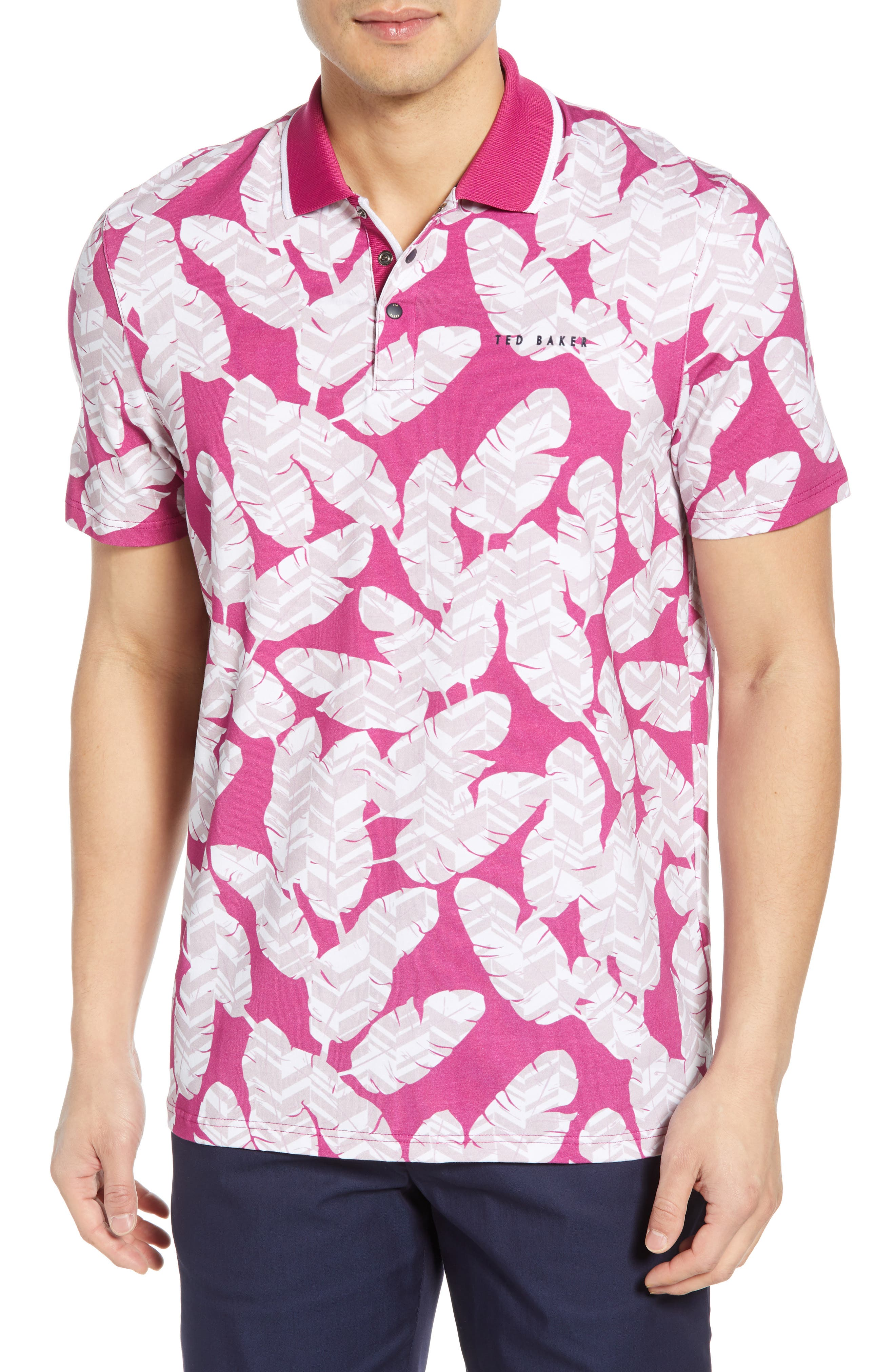 TED BAKER LONDON Peacan Golf Polo, Main, color, PINK