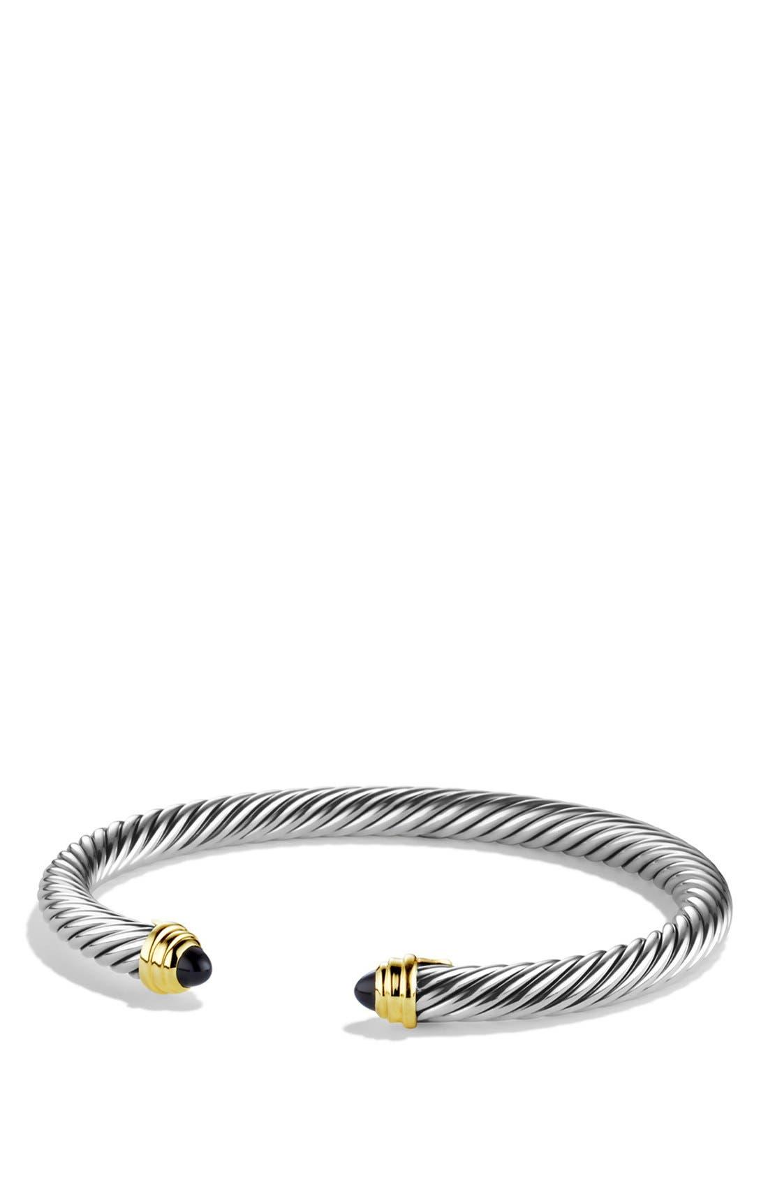 DAVID YURMAN, Cable Classics Bracelet with Semiprecious Stones & 14K Gold, 5mm, Main thumbnail 1, color, BLACK ONYX