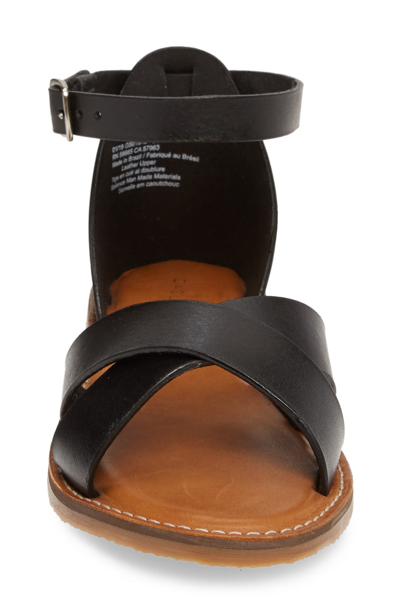 CASLON<SUP>®</SUP>, Oliver Sandal, Alternate thumbnail 5, color, BLACK LEATHER