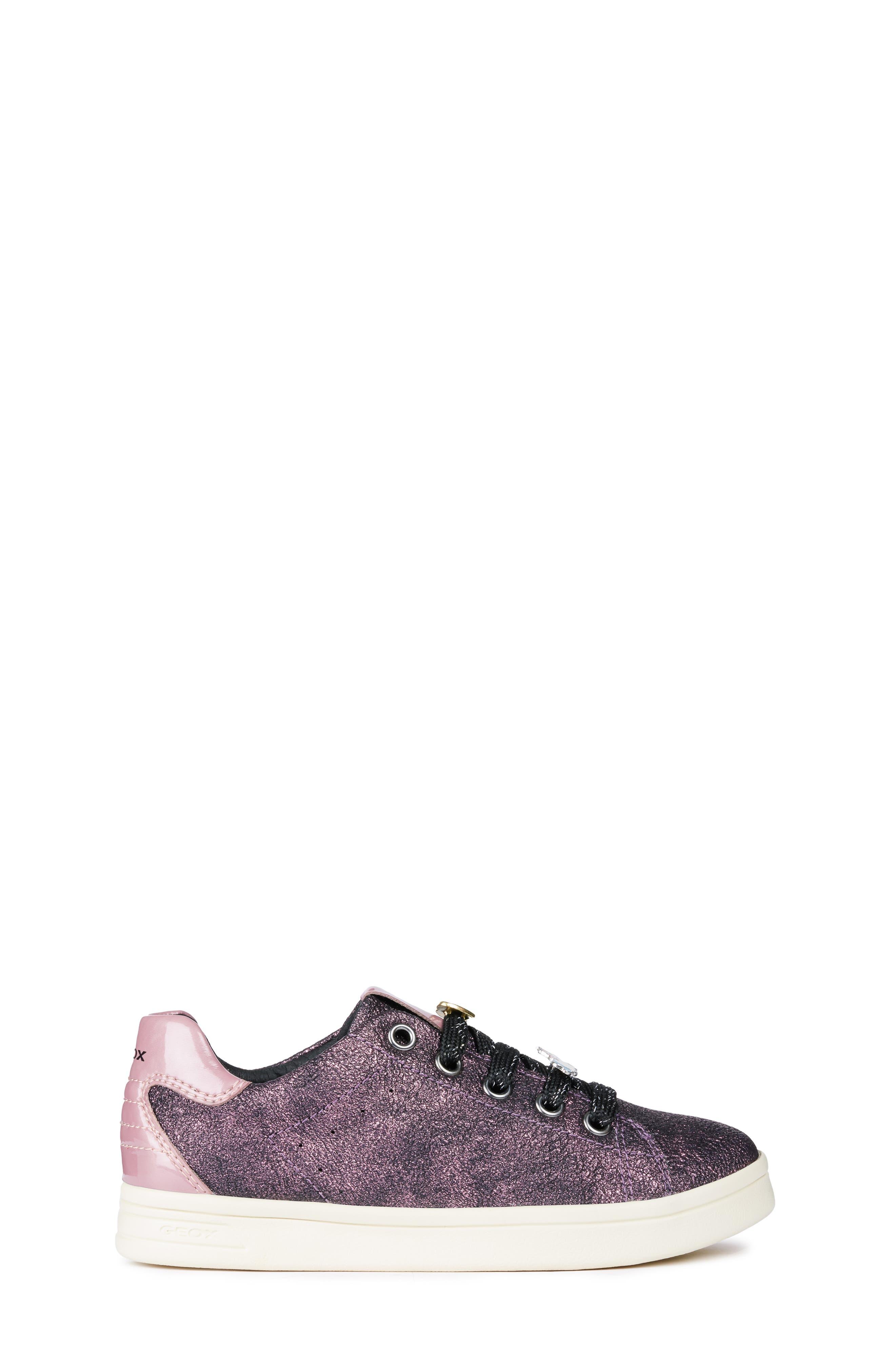 GEOX, DJ Rock Metallic Sneaker, Alternate thumbnail 3, color, DARK ROSE