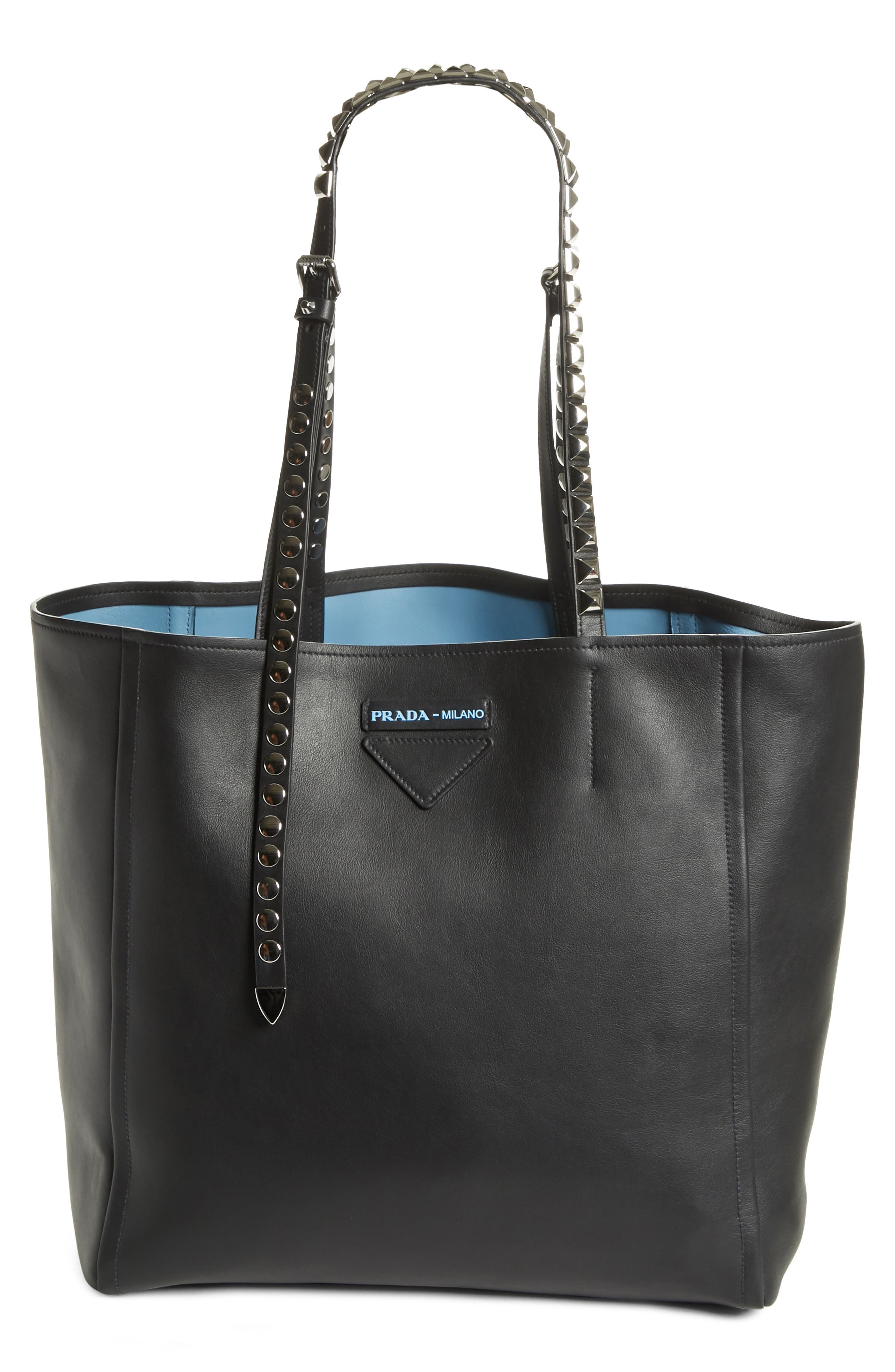 PRADA Concept Studded Strap Calfskin Leather Tote, Main, color, 001