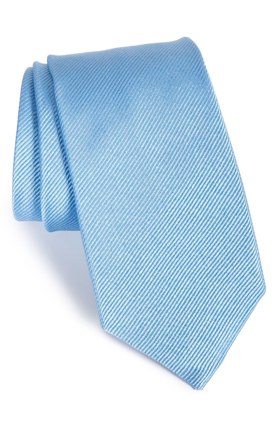 GITMAN, Solid Silk Tie, Main thumbnail 1, color, MEDIUM BLUE