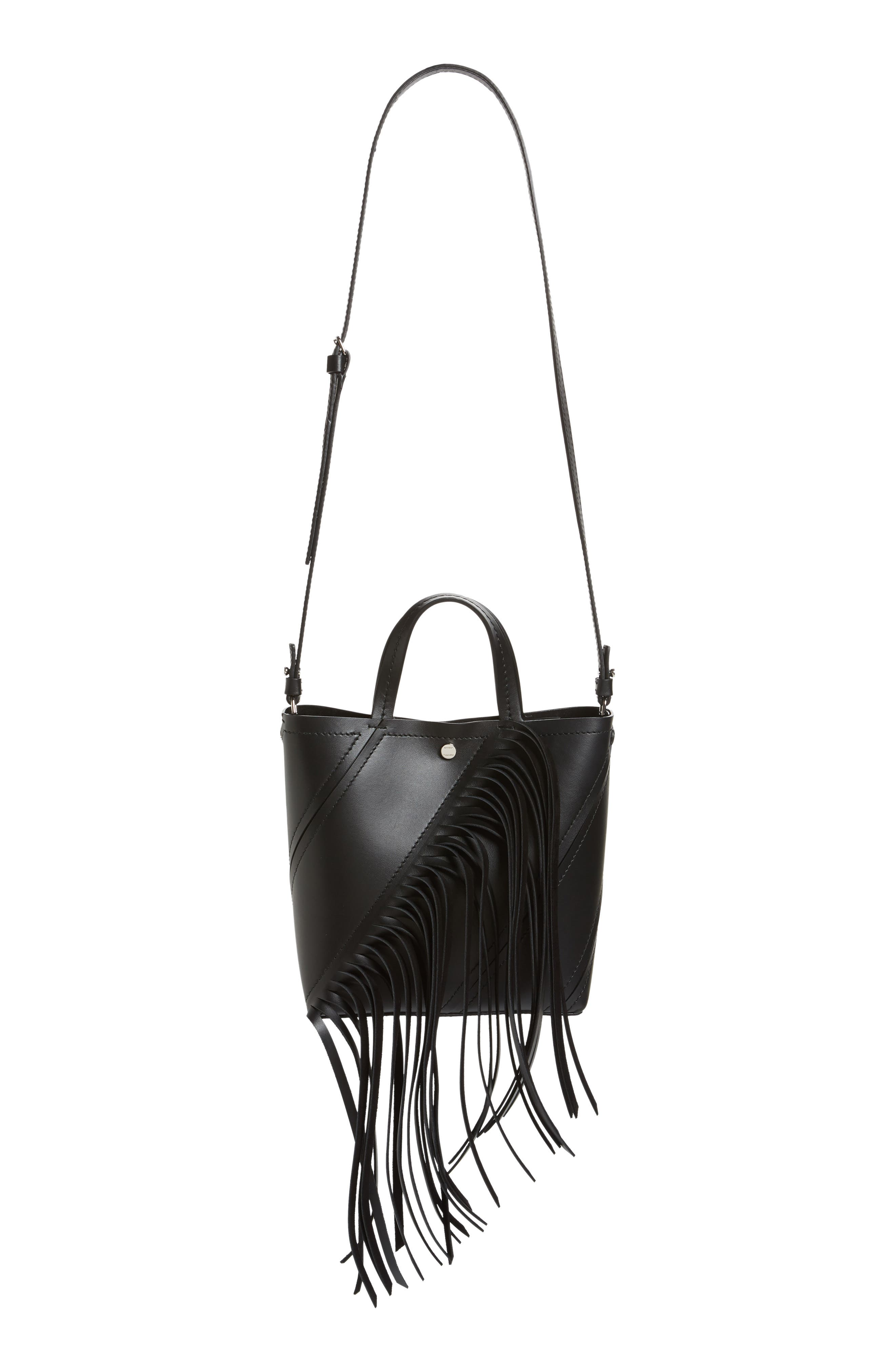PROENZA SCHOULER, Proenza Schoulder Small Hex Calfskin Leather Tote, Alternate thumbnail 2, color, BLACK/ BLACK