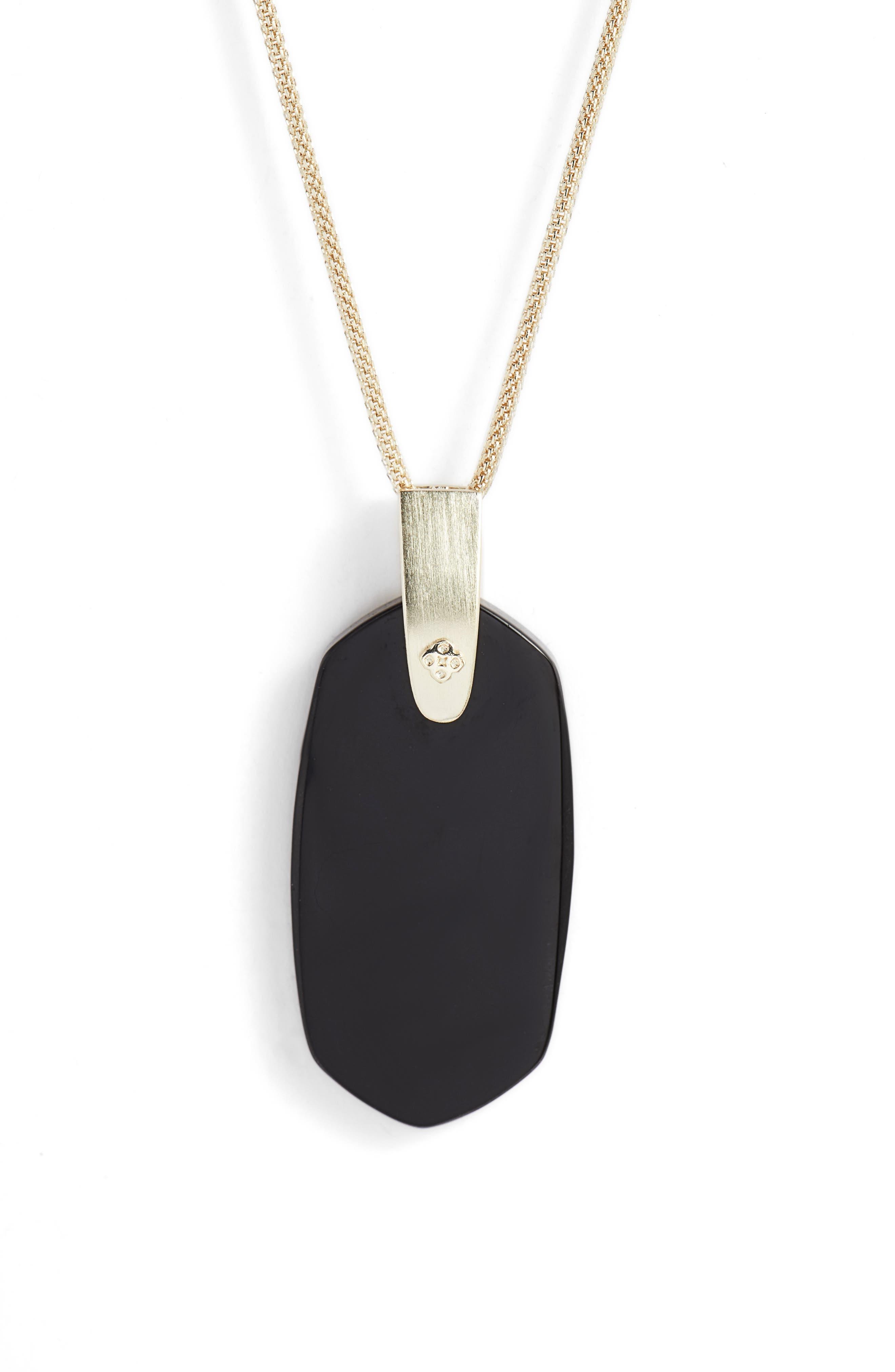 KENDRA SCOTT, Inez Pendant Necklace, Alternate thumbnail 3, color, BLACK/ GOLD
