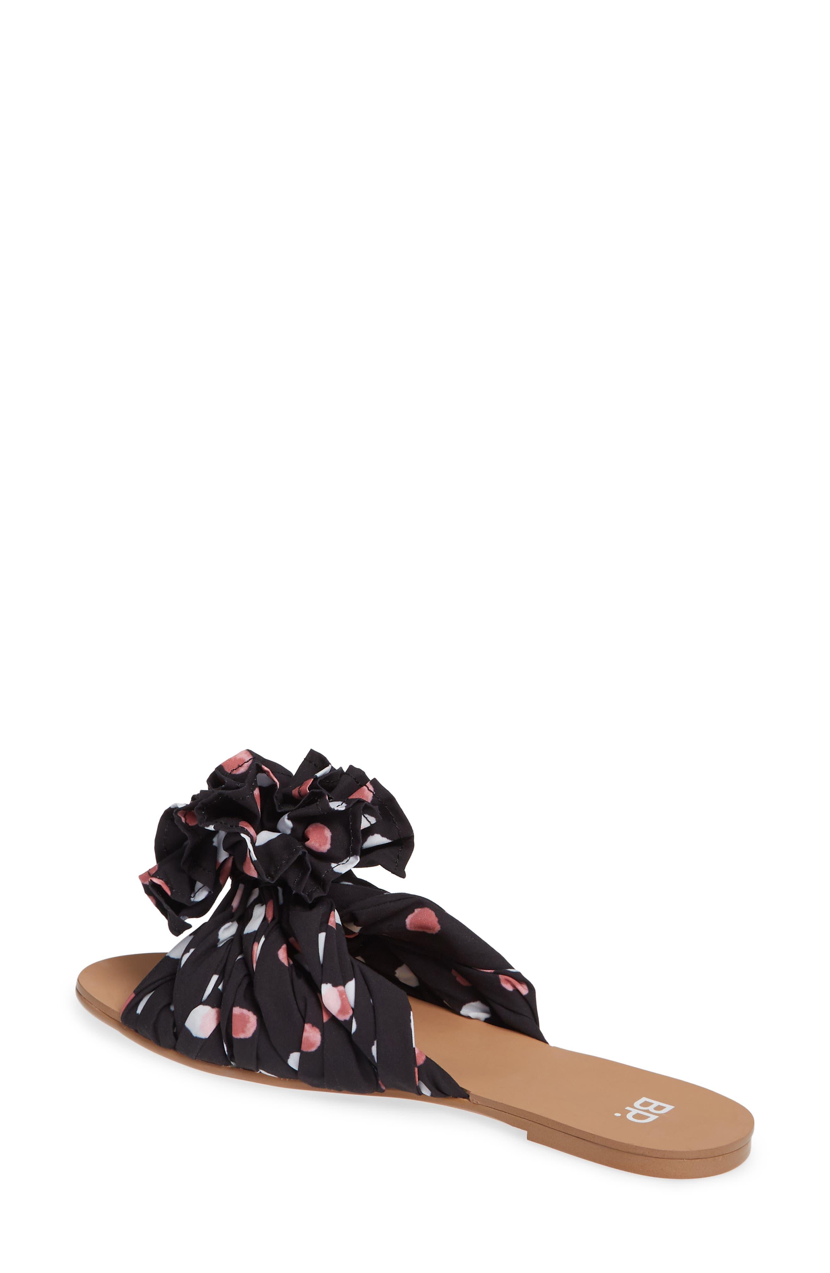 BP., Ruby Slide Sandal, Alternate thumbnail 2, color, BLACK POLKA DOT FABRIC
