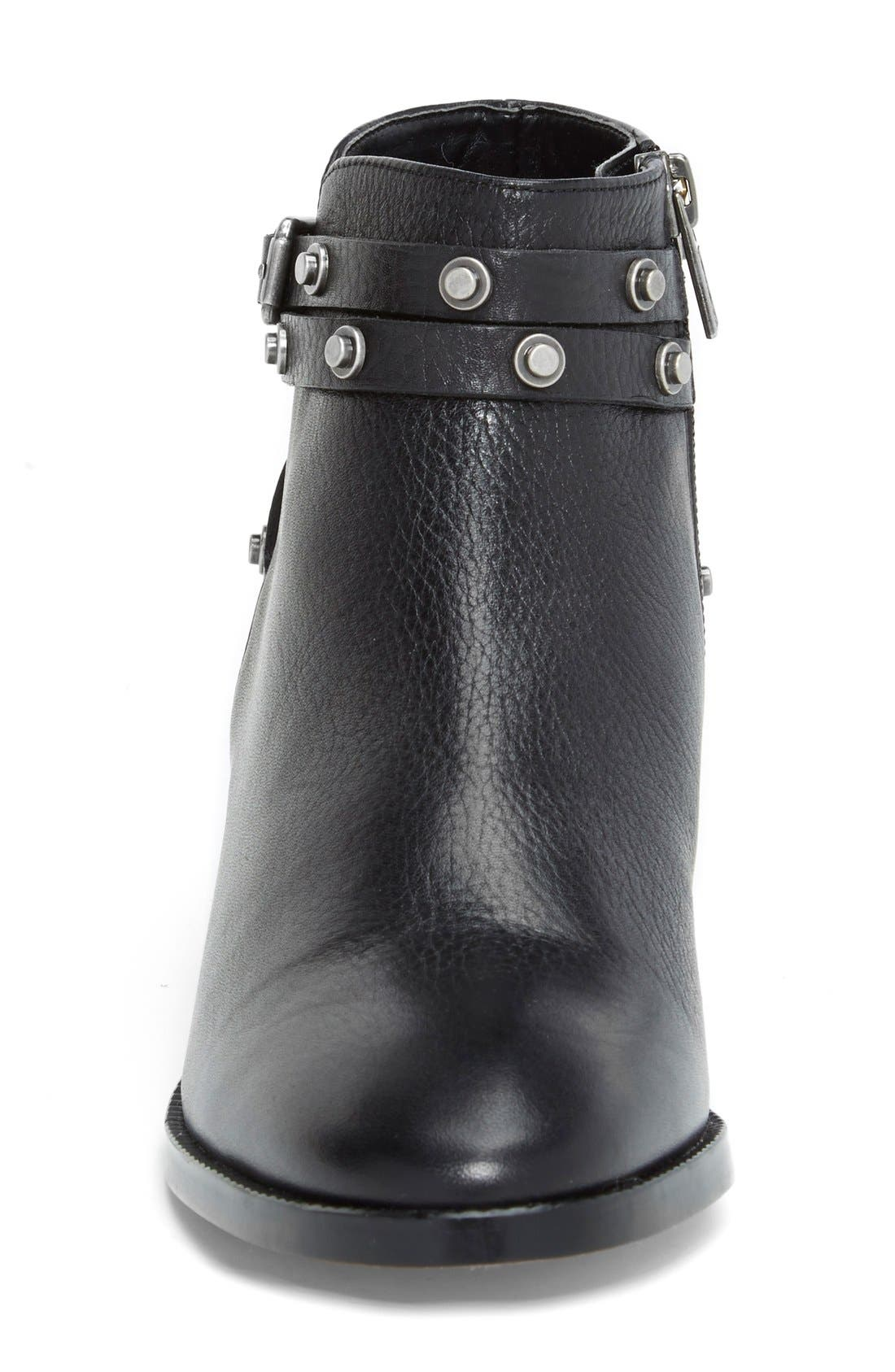 HALOGEN<SUP>®</SUP>, Halogen 'Lidia' Studded Leather Ankle Bootie, Alternate thumbnail 3, color, 001
