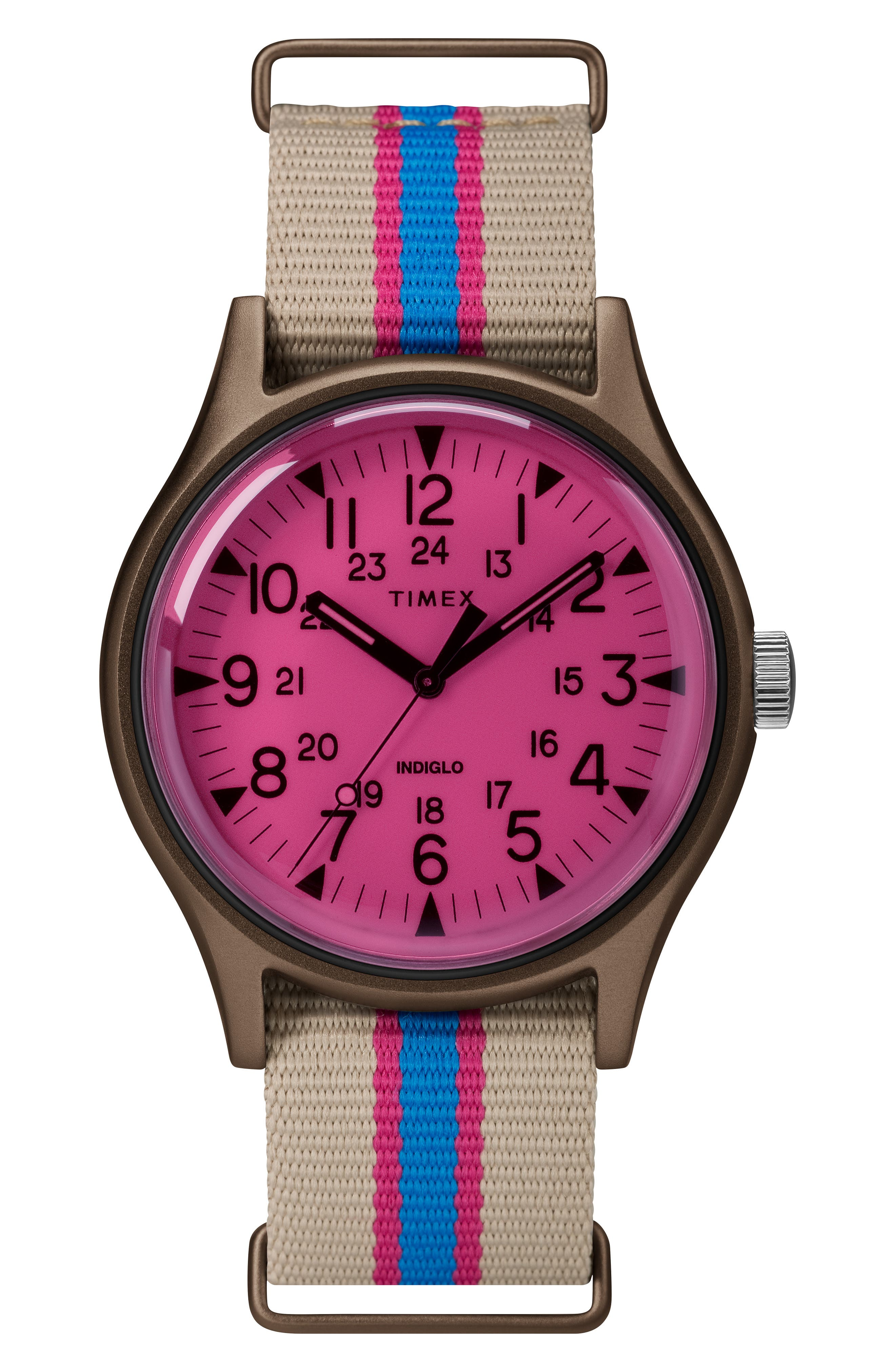 TIMEX<SUP>®</SUP> MK1 Nylon Strap Watch, 40mm, Main, color, TAN/ PINK
