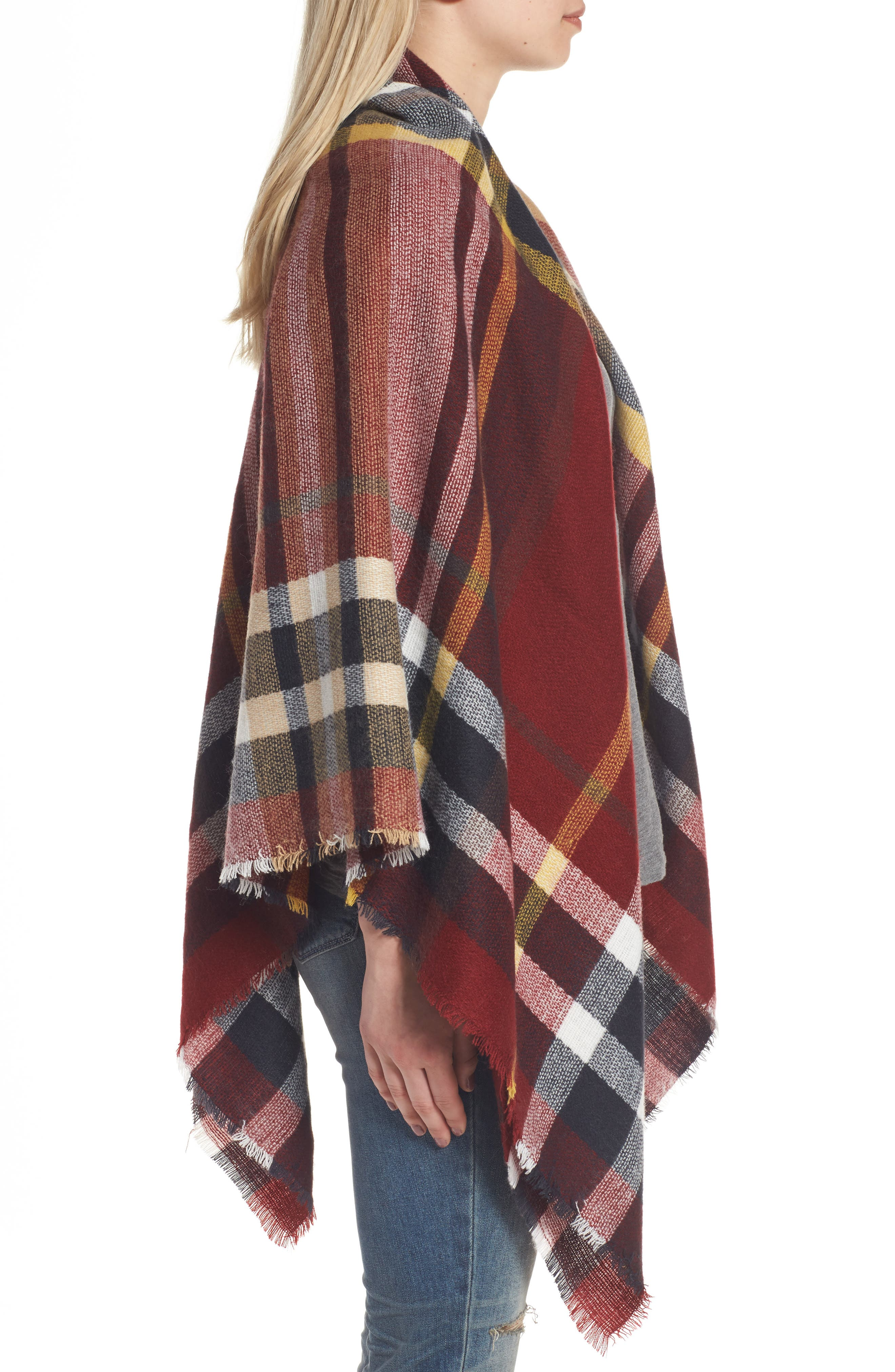SHIRALEAH, Tatum Plaid Square Scarf, Alternate thumbnail 3, color, 930