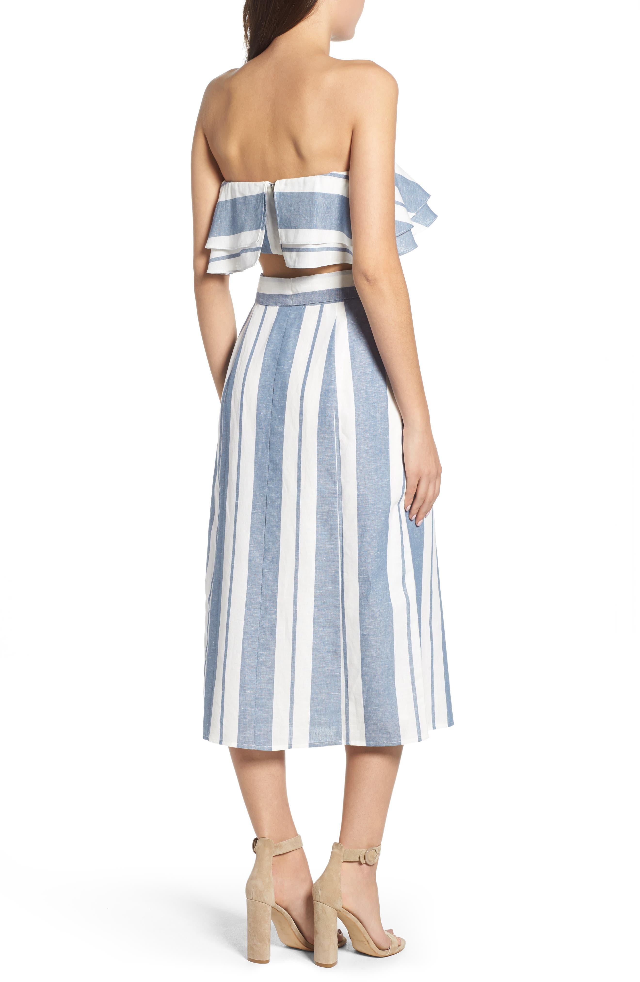 WAYF, Stripe Midi Skirt, Alternate thumbnail 8, color, 400