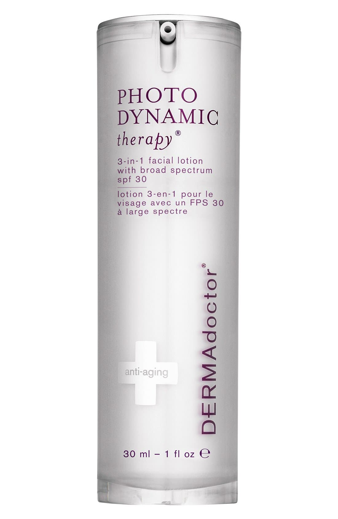 DERMADOCTOR<SUP>®</SUP> 'PHOTODYNAMIC therapy<sup>®</sup>' 3-in-1 Facial Lotion with Broad Spectrum SPF 30, Main, color, NO COLOR