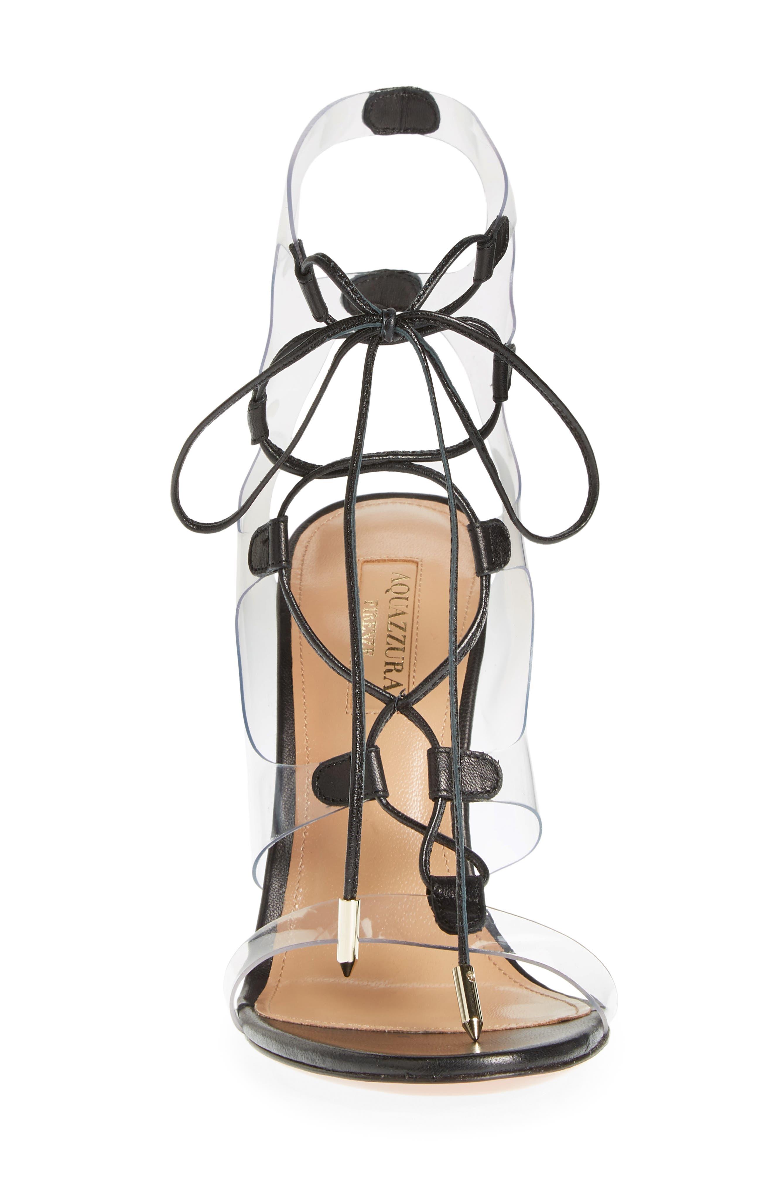 AQUAZZURA, Milos PVC Lace-Up Sandal, Alternate thumbnail 4, color, BLACK