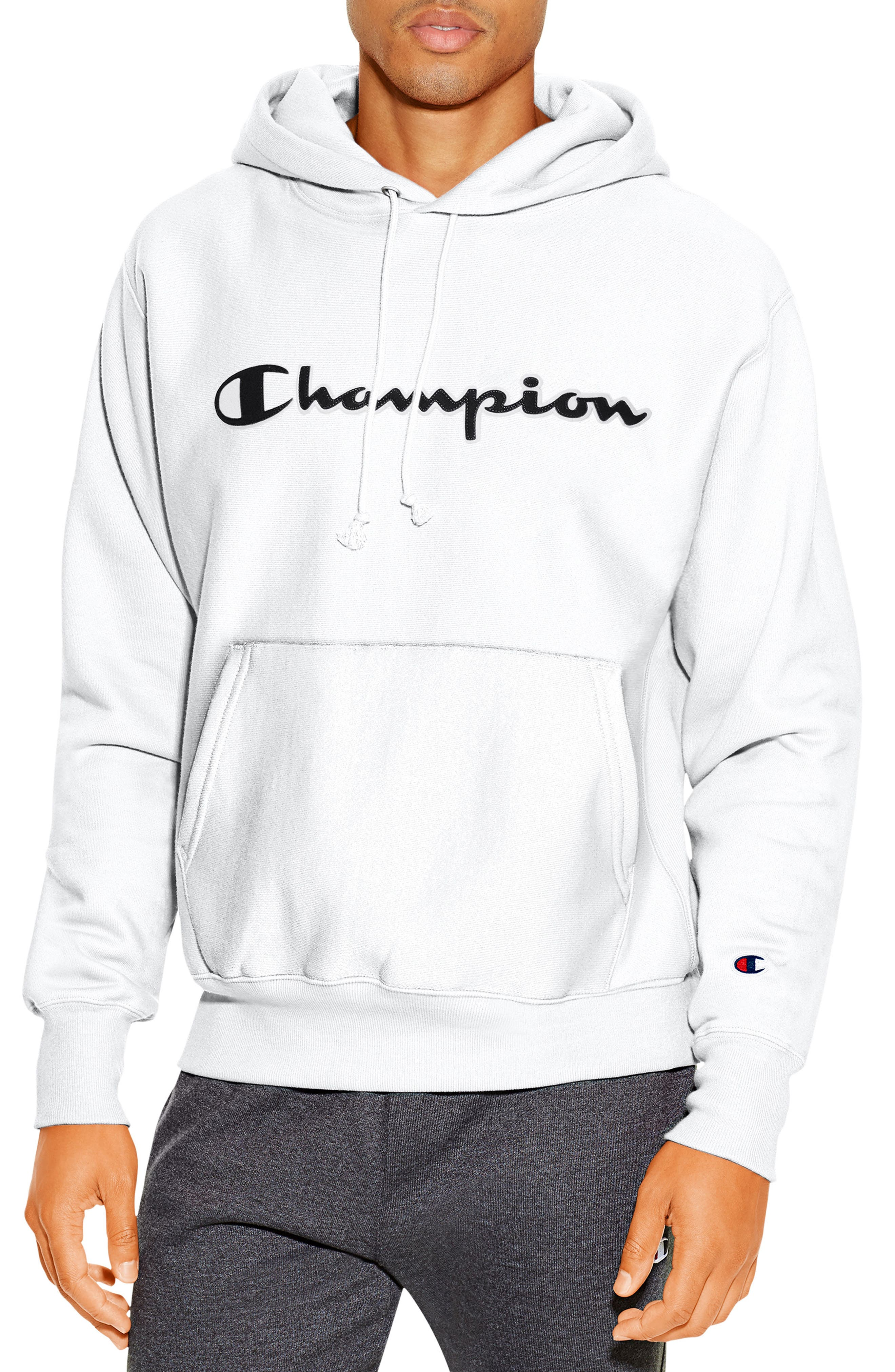 CHAMPION, Reverse Weave<sup>®</sup> Pullover Hoodie, Main thumbnail 1, color, WHITE