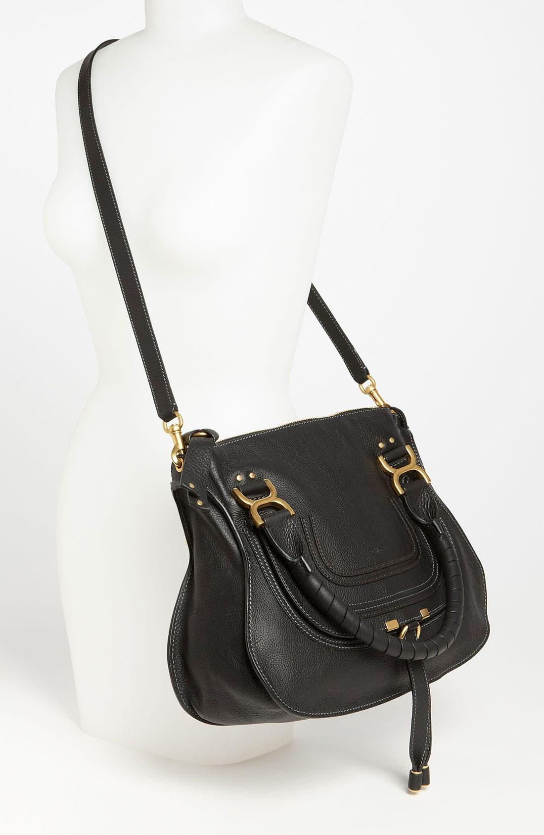CHLOÉ, 'Medium Marcie' Leather Satchel, Alternate thumbnail 8, color, BLACK GOLD HRDWRE