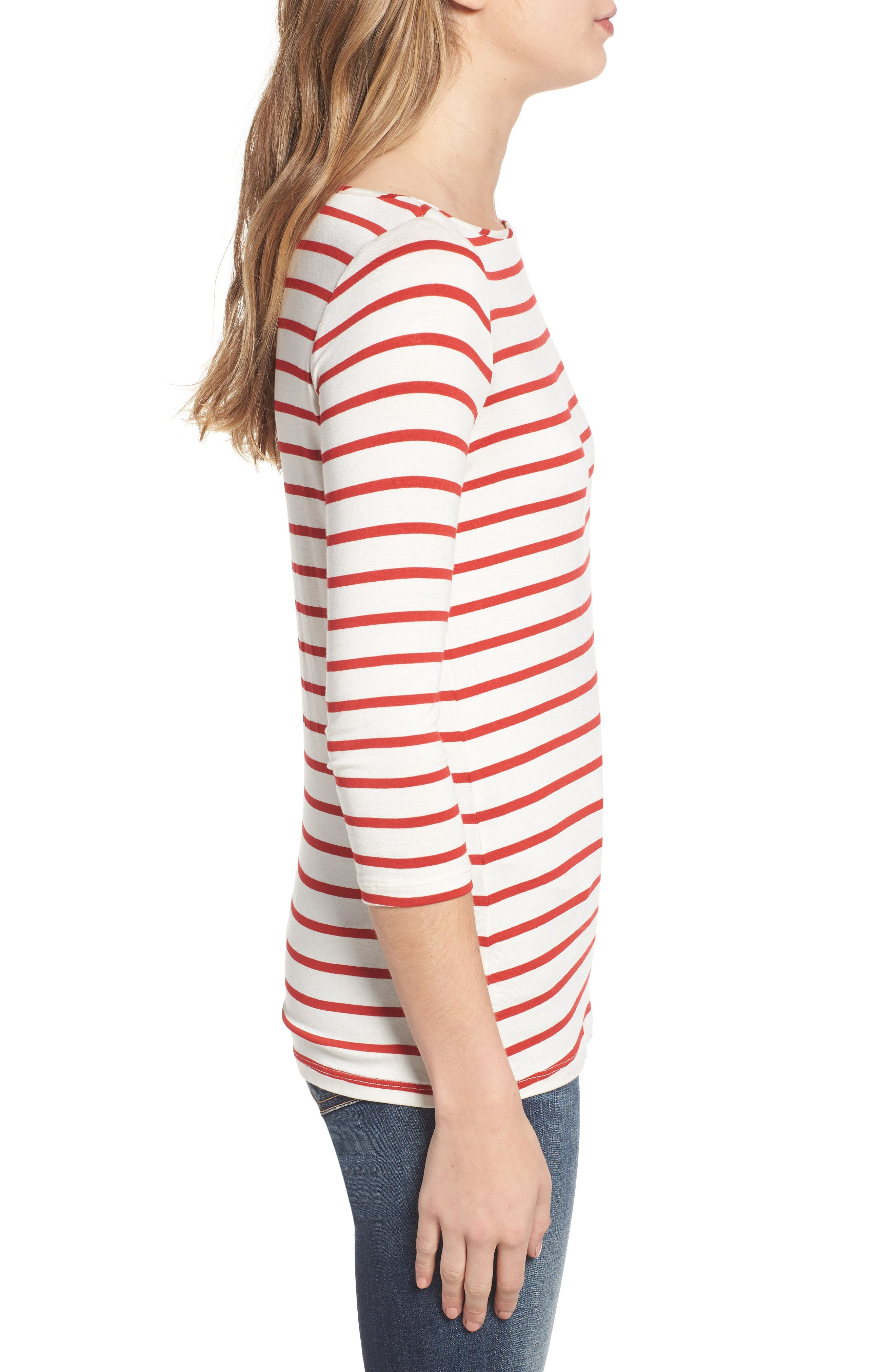AMOUR VERT, Francoise Stretch Jersey Top, Alternate thumbnail 3, color, POPPY STRIPE