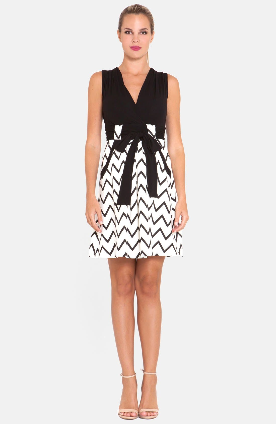 OLIAN Chevron Print Maternity Dress, Main, color, 001