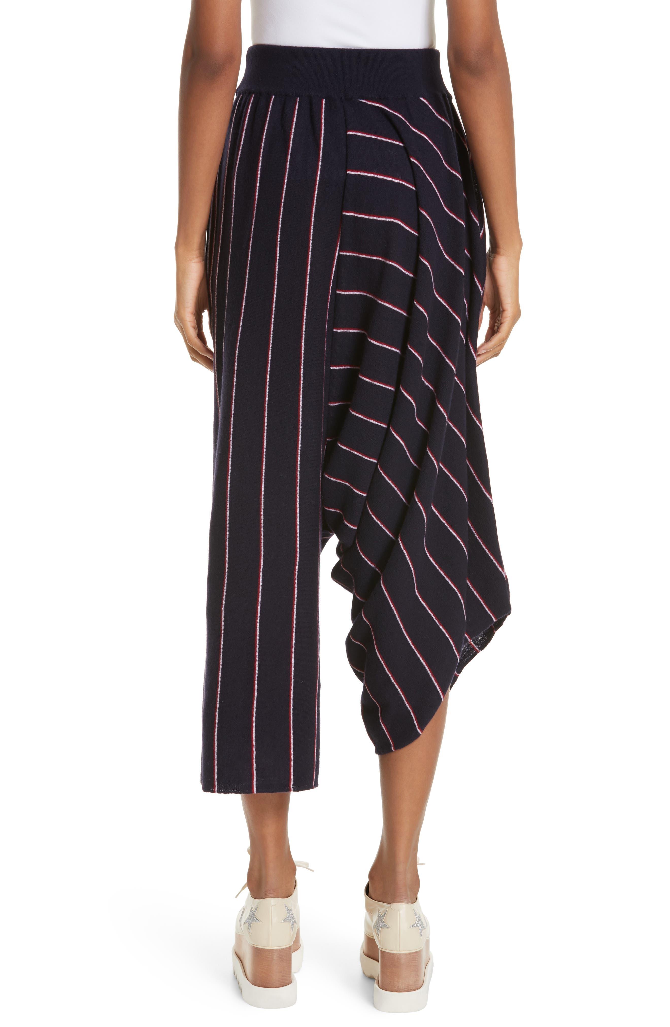 STELLA MCCARTNEY, Stripe Wool Knit Crop Pants, Alternate thumbnail 2, color, INK