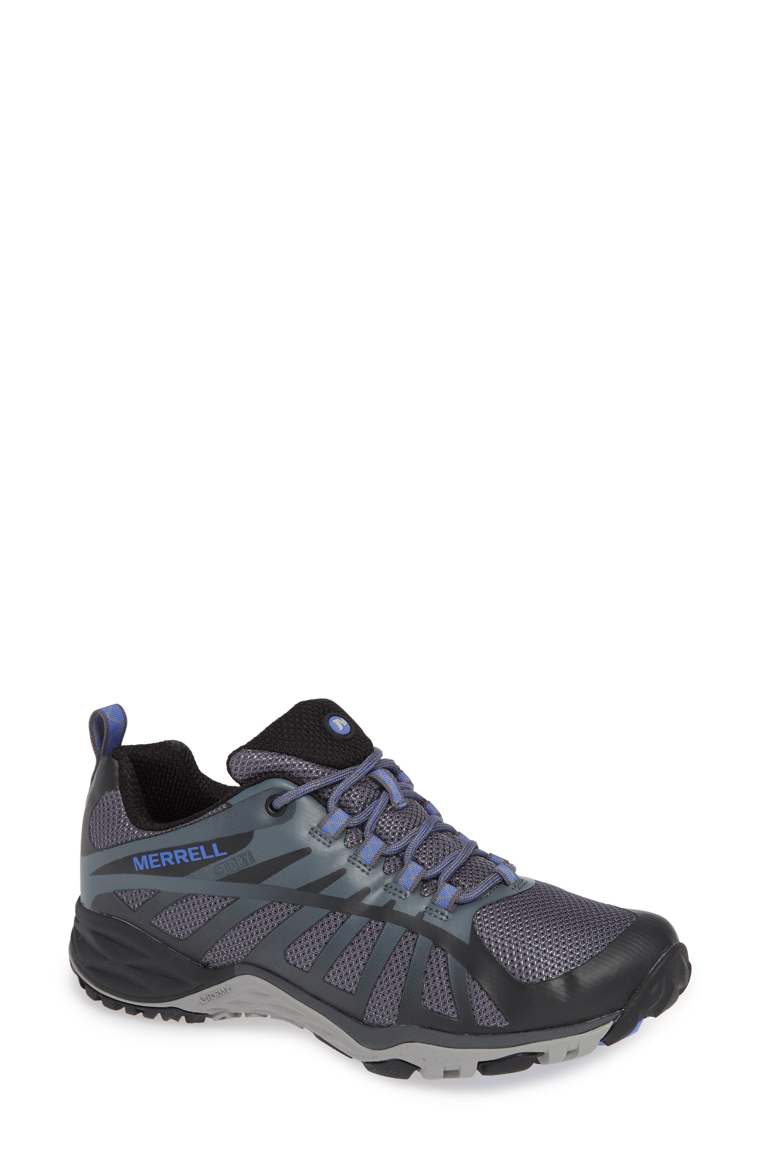 MERRELL, Siren Edge Waterproof Q2 Hiking Shoe, Main thumbnail 1, color, BLACK FABRIC