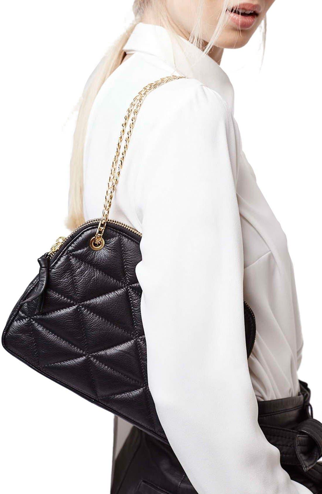 TOPSHOP, Quilted Leather Shoulder Bag, Alternate thumbnail 3, color, 001