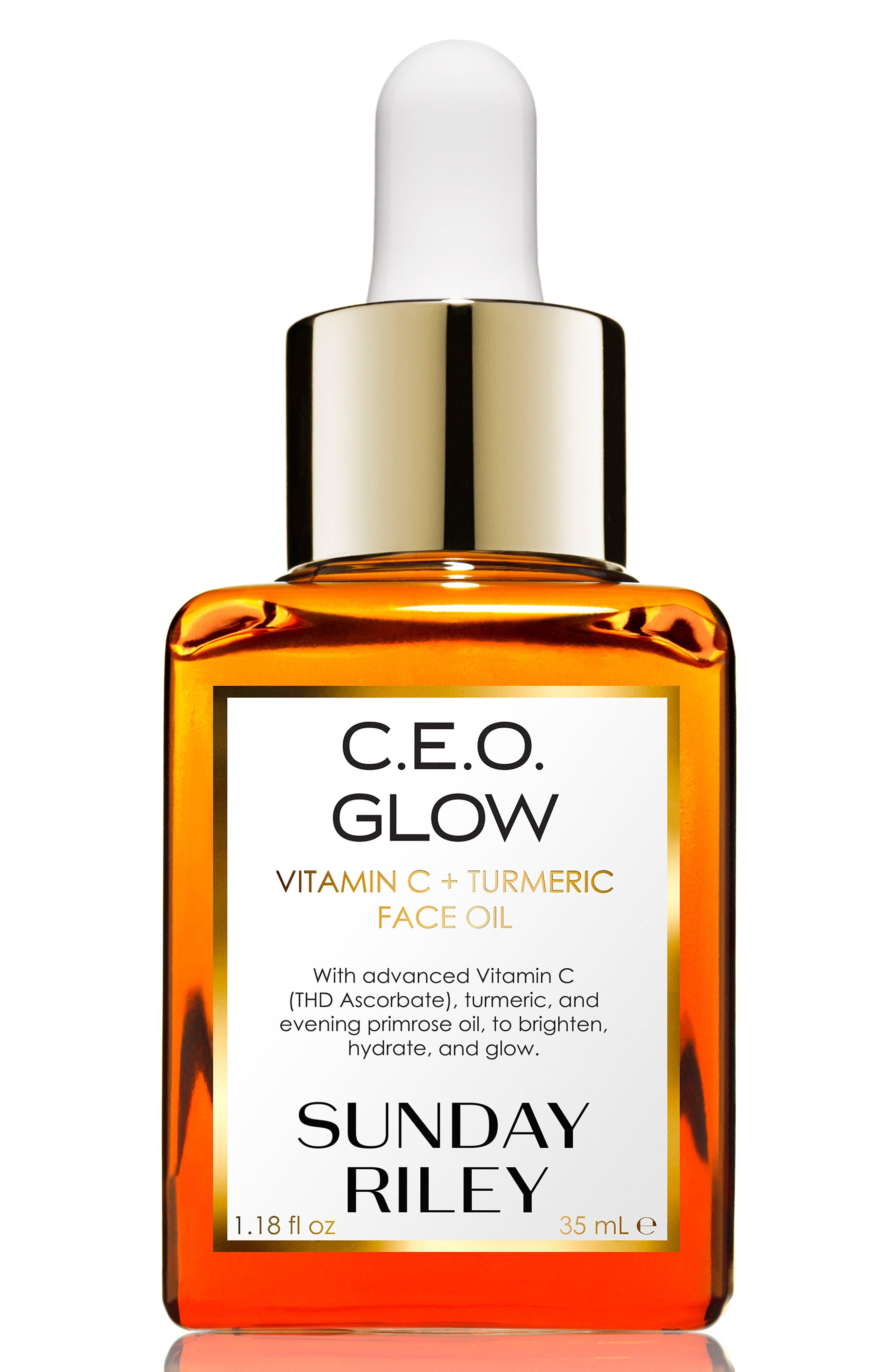 SUNDAY RILEY, SPACE.NK.apothecary Sunday Riley C.E.O. Glow Vitamin C + Turmeric Face Oil, Main thumbnail 1, color, NO COLOR
