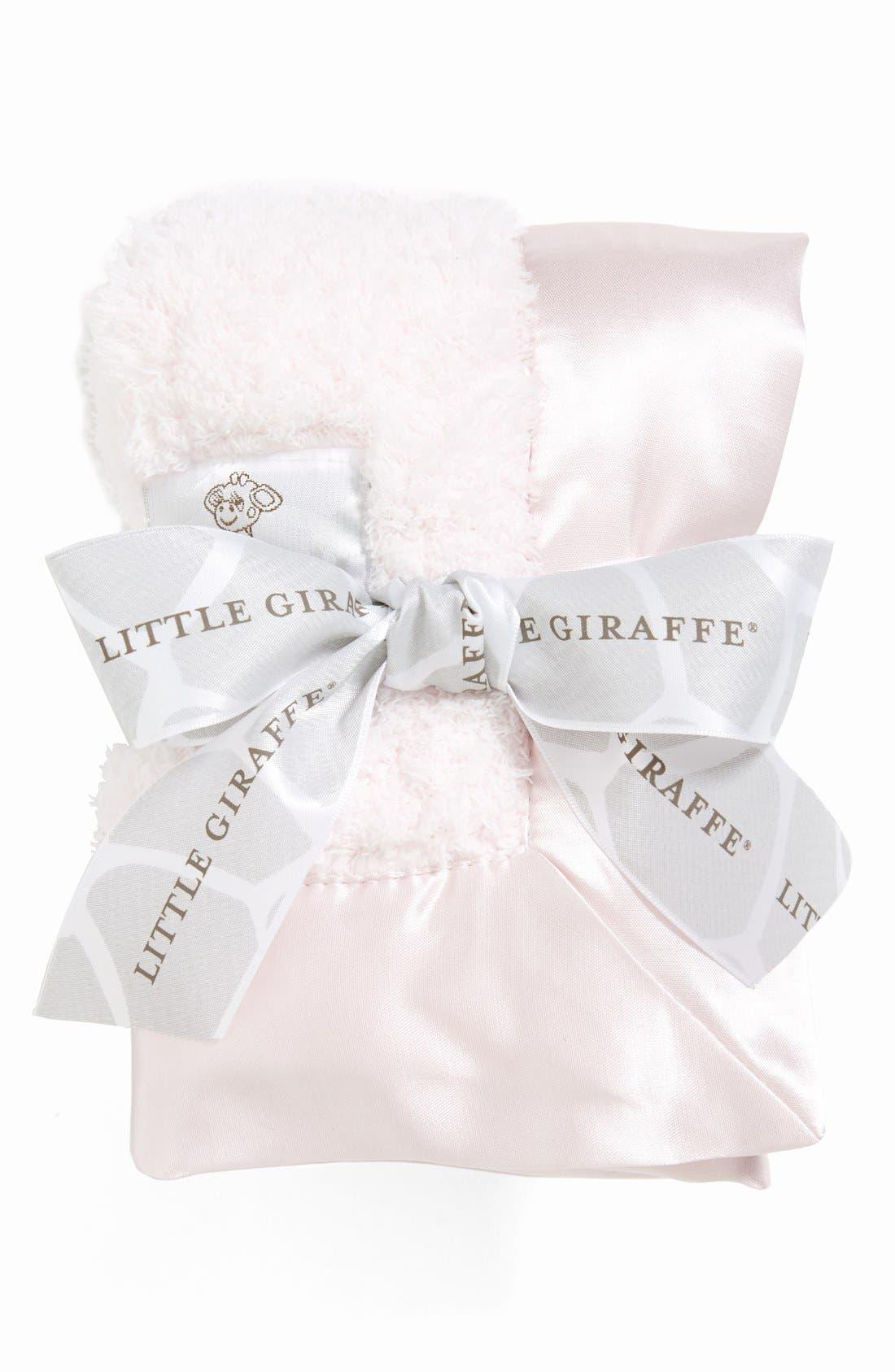 LITTLE GIRAFFE, Satin Trim Chenille Blanky, Alternate thumbnail 2, color, LIGHT PINK