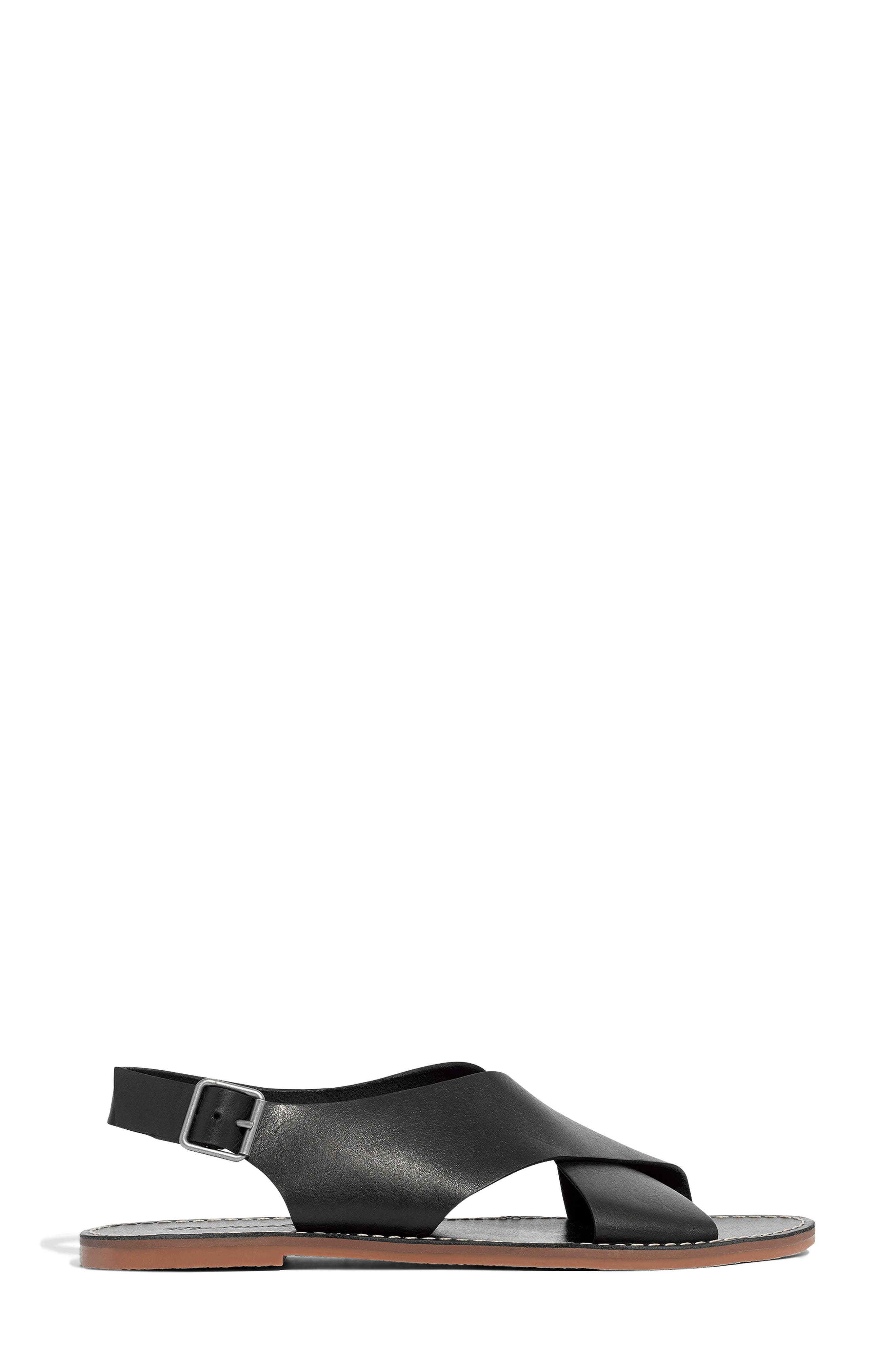 MADEWELL, Boardwalk Flat Sandal, Alternate thumbnail 3, color, TRUE BLACK