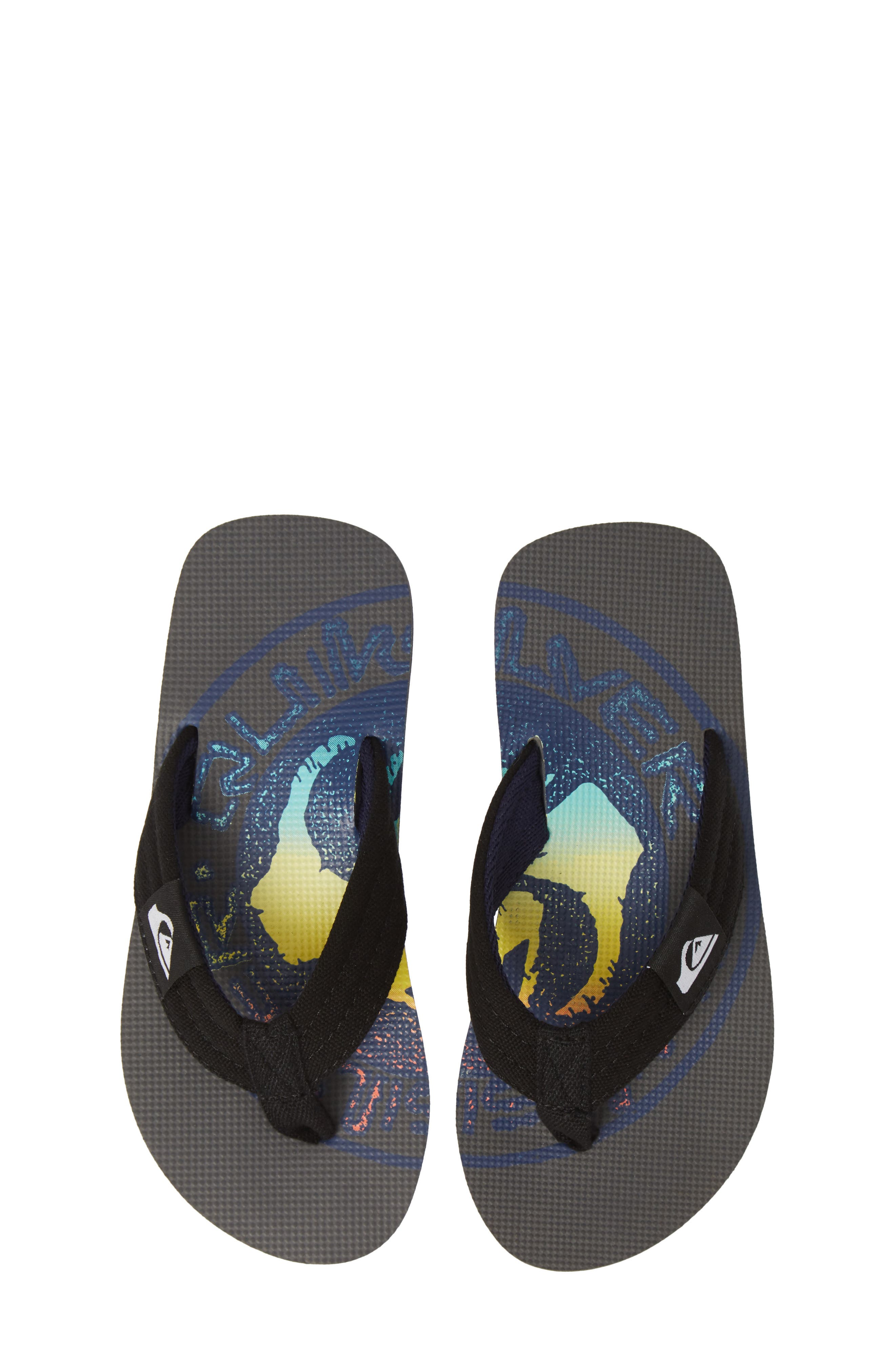 QUIKSILVER, Molokai Layback Flip Flop, Main thumbnail 1, color, GREY/ BLACK/ BLUE