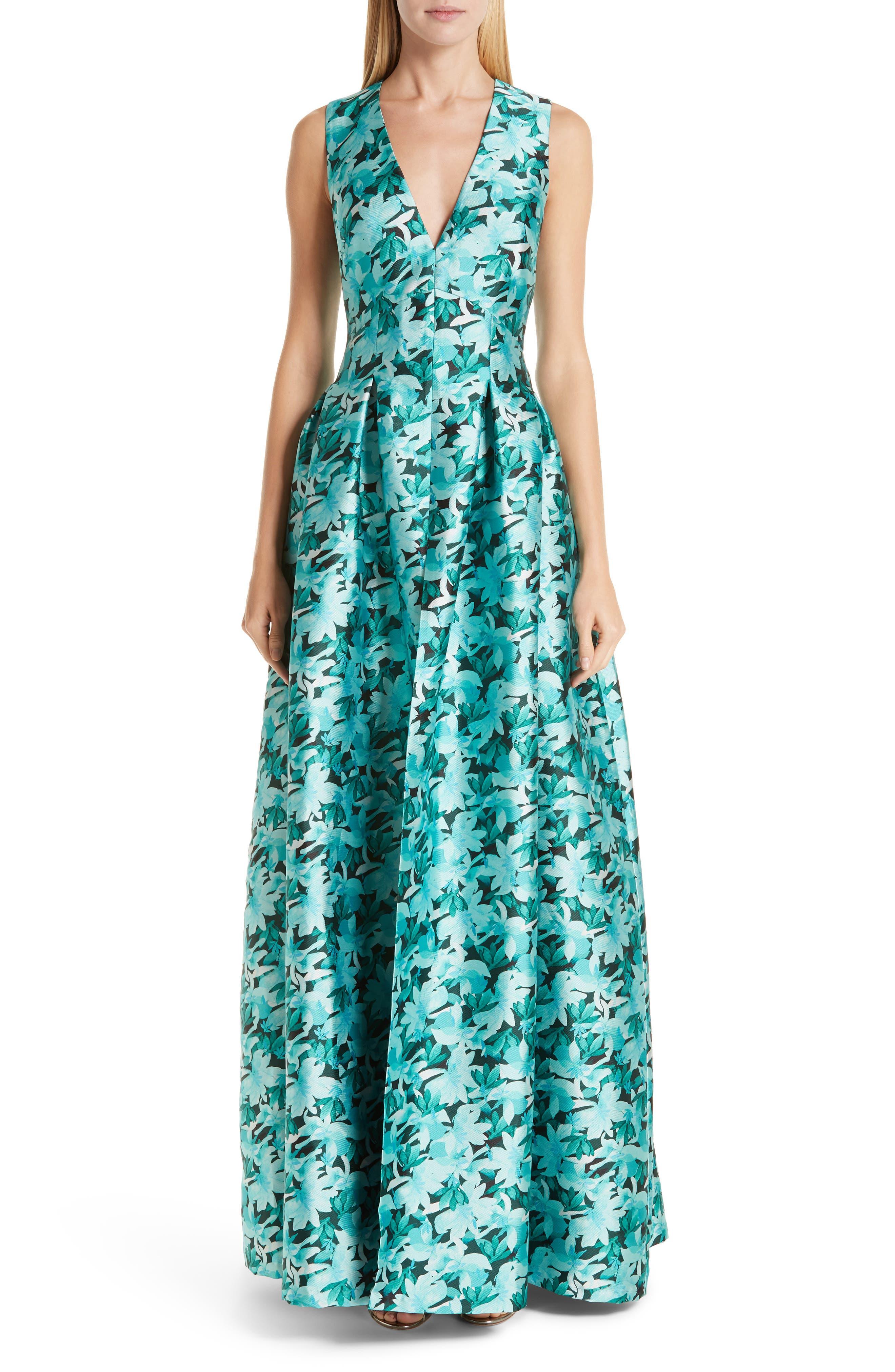 SACHIN & BABI, Brooke Floral Print Gown, Main thumbnail 1, color, TEAL