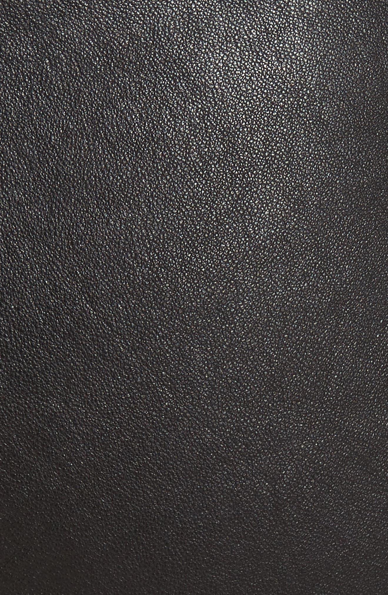 ALICE + OLIVIA, Leather Leggings, Alternate thumbnail 6, color, BLACK