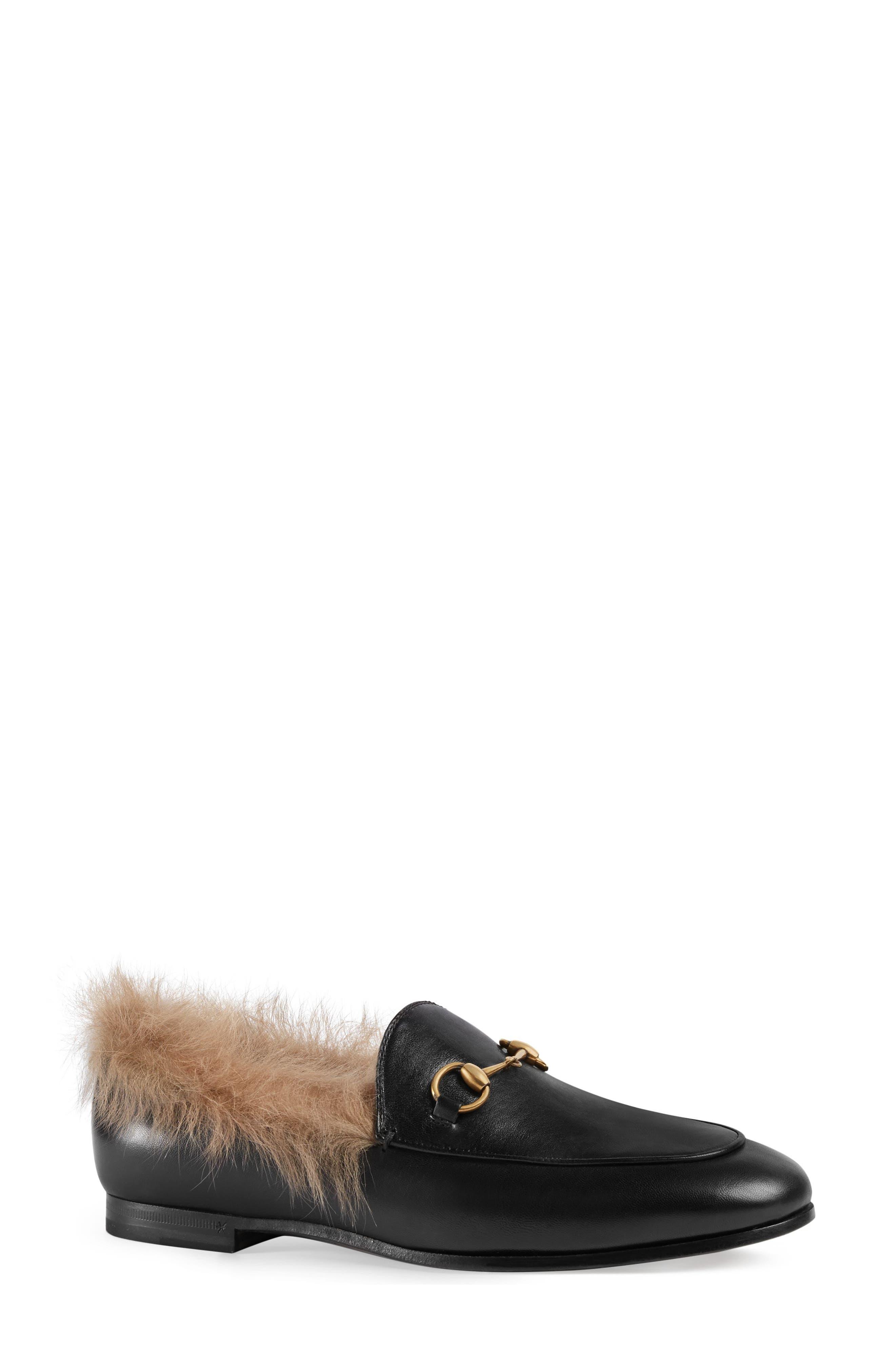 GUCCI, Jordaan Genuine Shearling Lining Loafer, Main thumbnail 1, color, BLACK