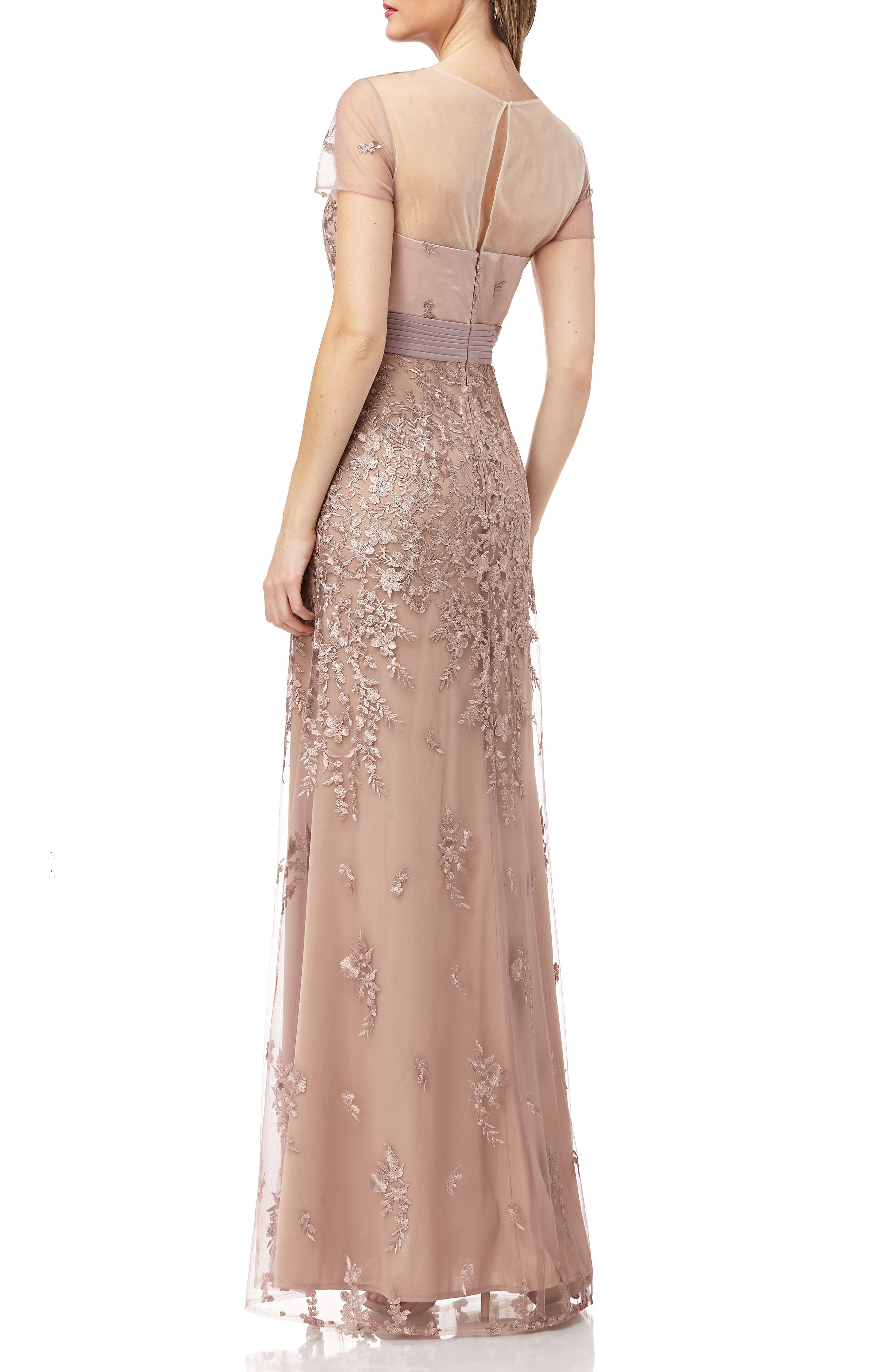 JS COLLECTIONS, Floral Embroidered Evening Dress, Alternate thumbnail 2, color, MAPLE SUGAR