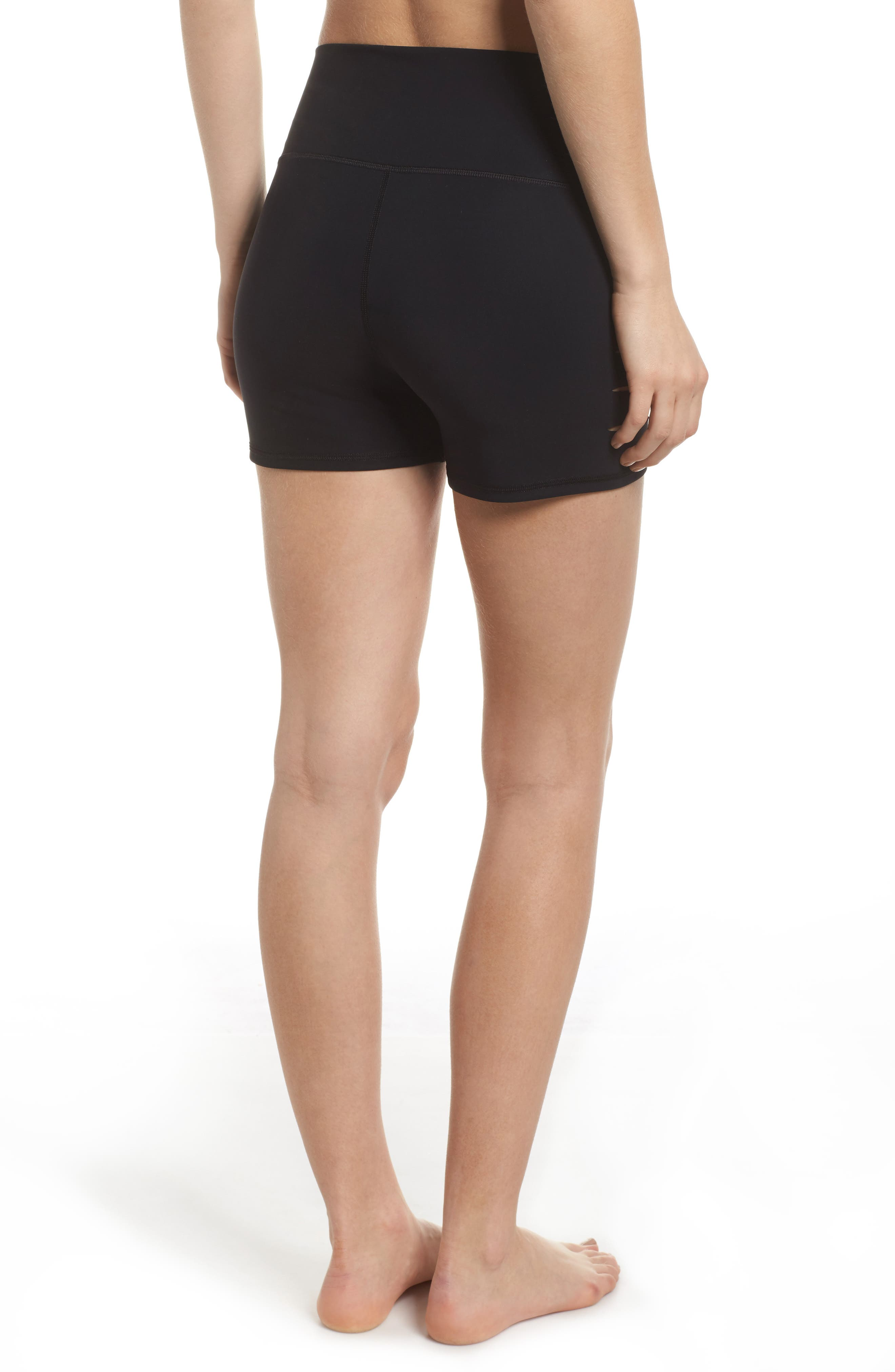 ALO, Ripped High Waist Shorts, Alternate thumbnail 2, color, BLACK
