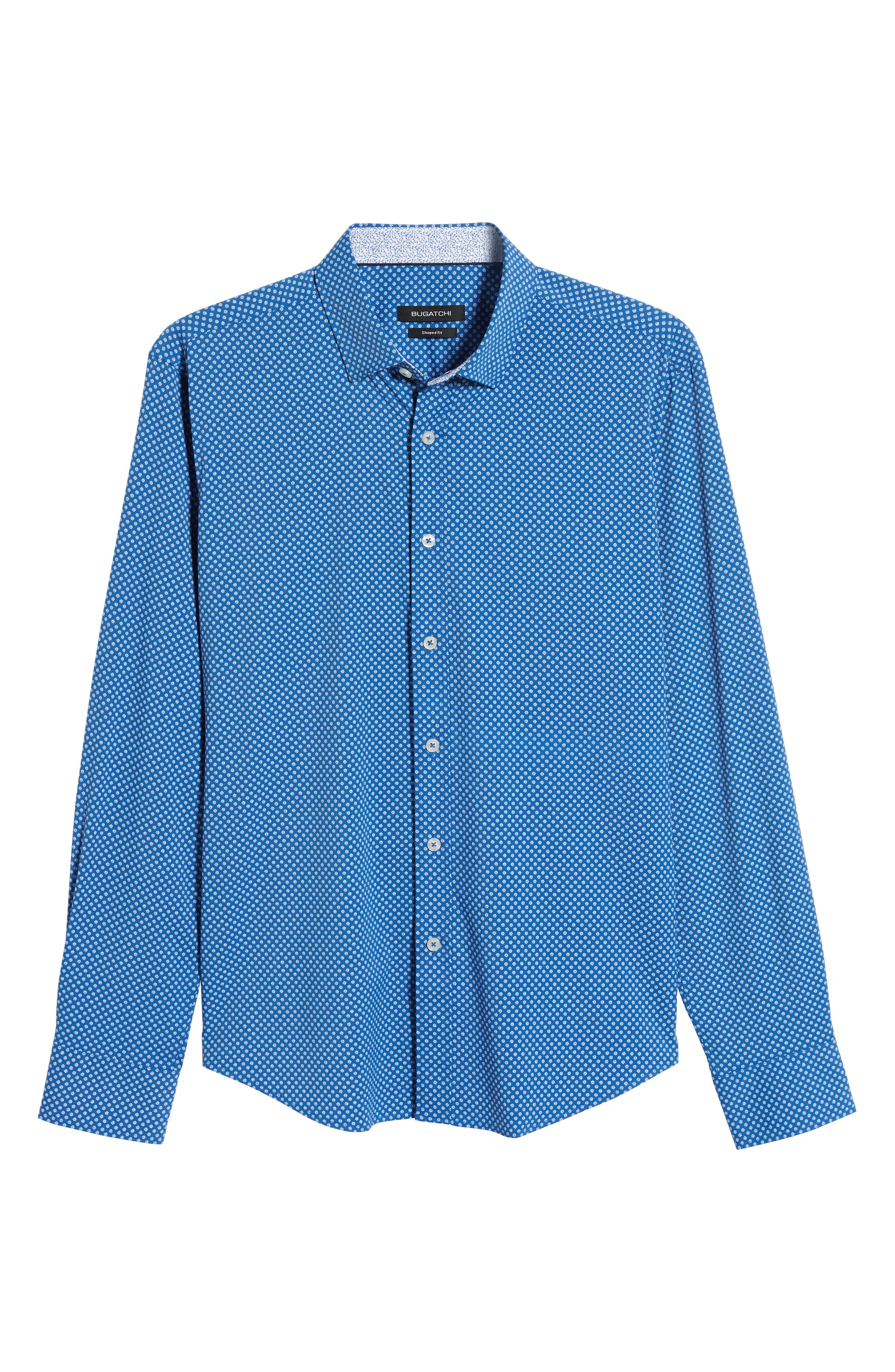 BUGATCHI, Shaped Fit Print Performance Sport Shirt, Alternate thumbnail 5, color, NAVY