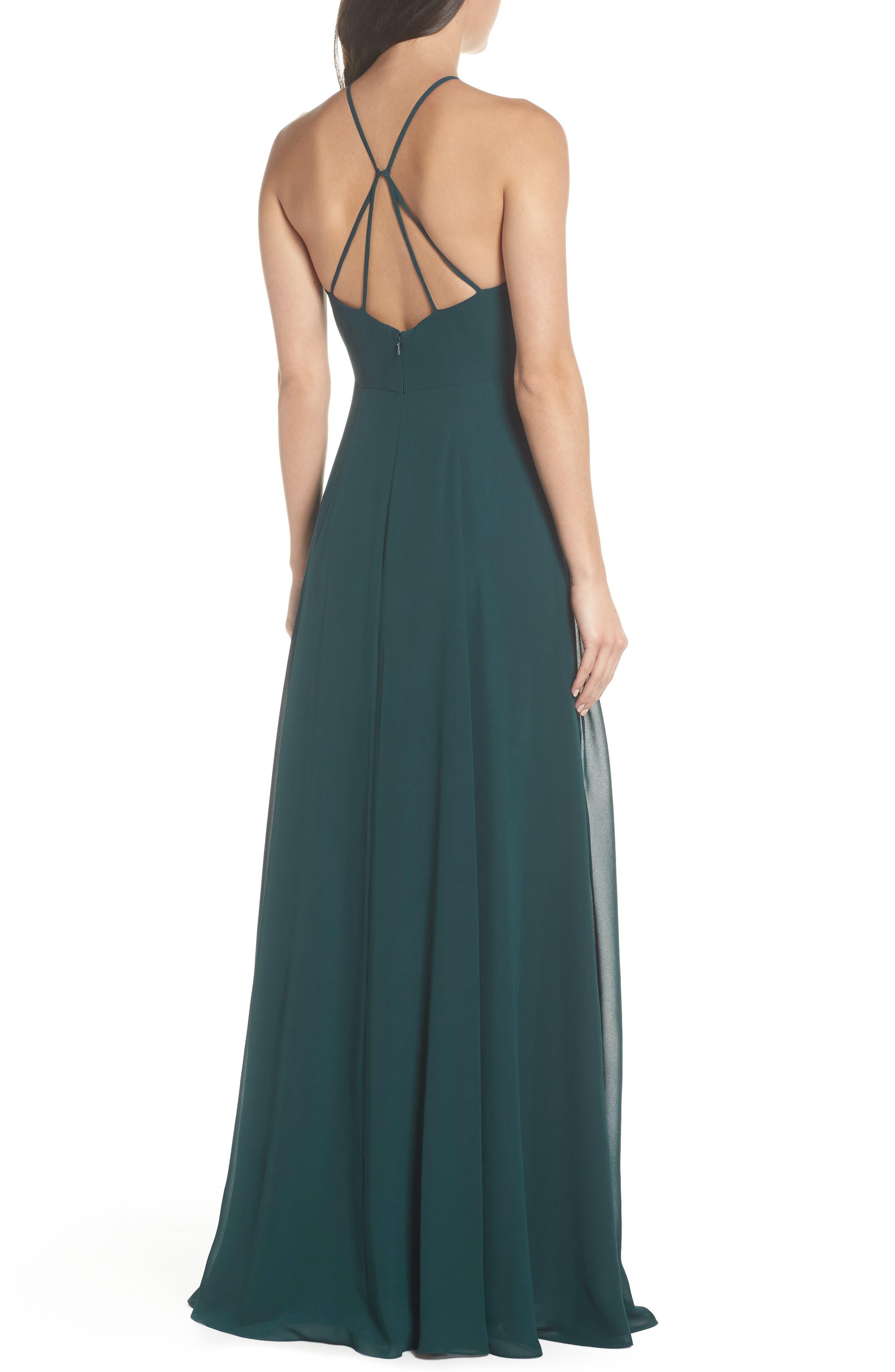 JENNY YOO, Kayla A-Line Halter Gown, Alternate thumbnail 2, color, CASPIAN SEA