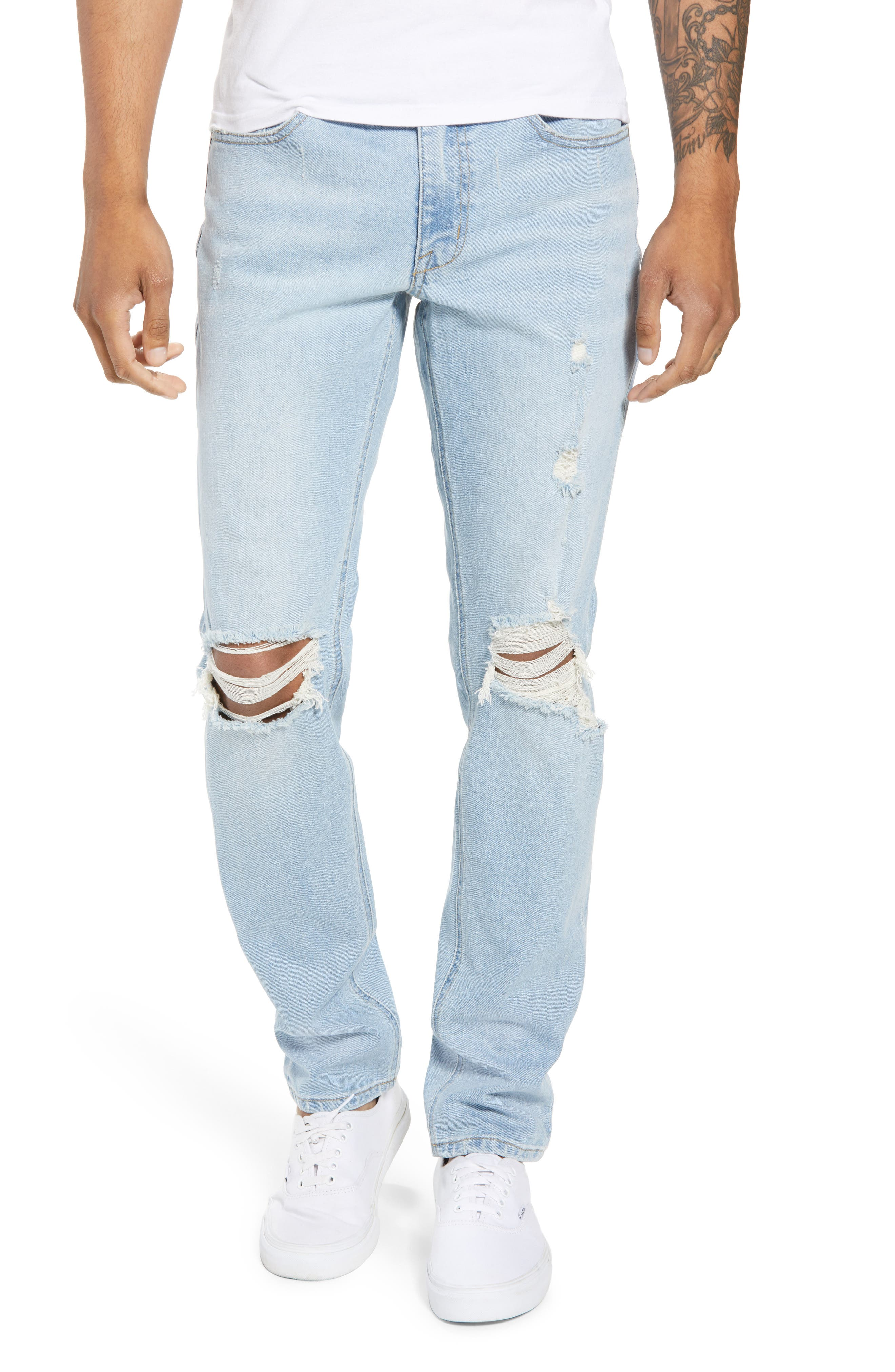 THE RAIL Ripped Skinny Jeans, Main, color, BLUE CORGAN WASH