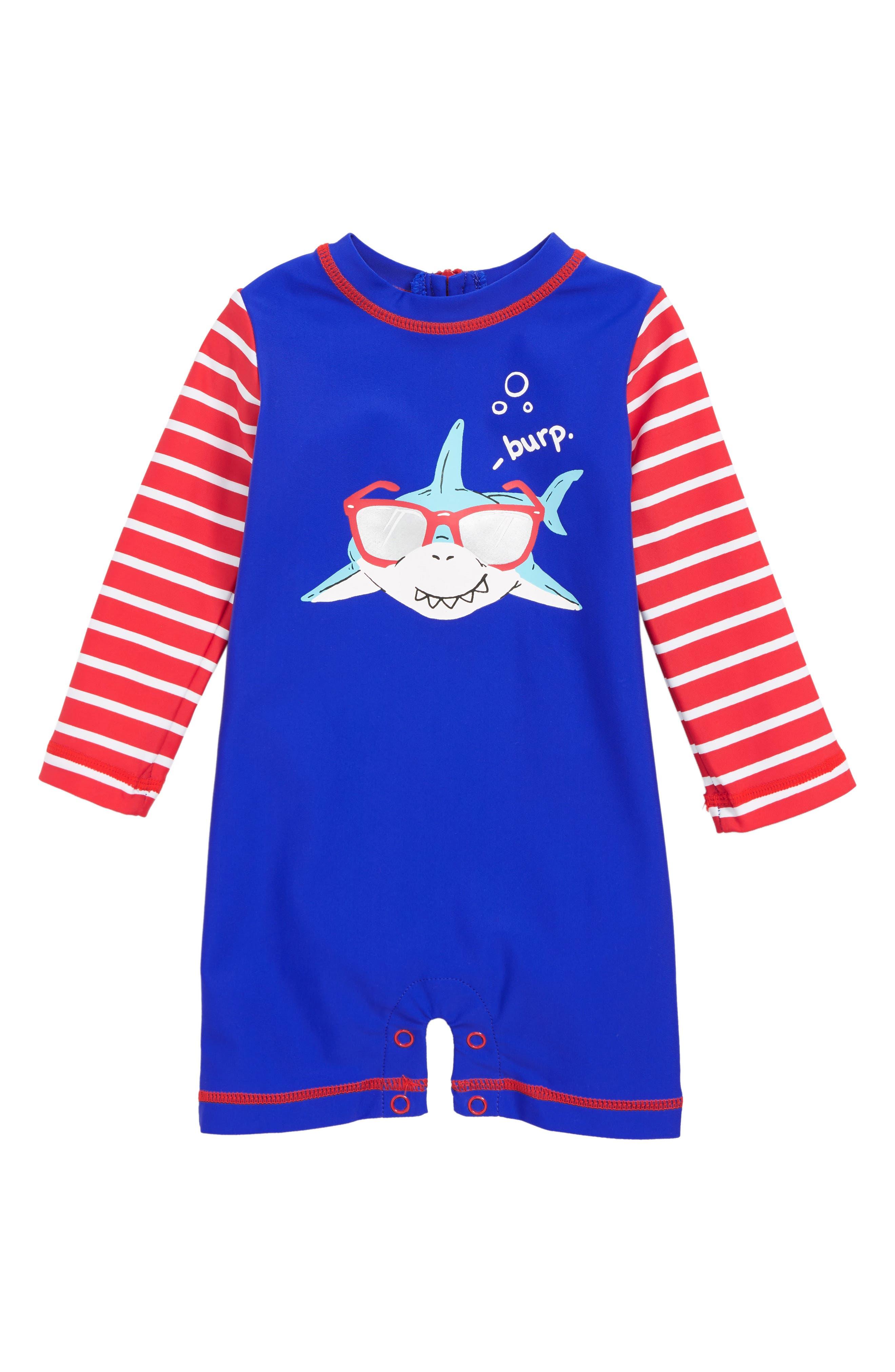 HATLEY, Cool Shark One-Piece Rashguard Swimsuit, Main thumbnail 1, color, BLUE