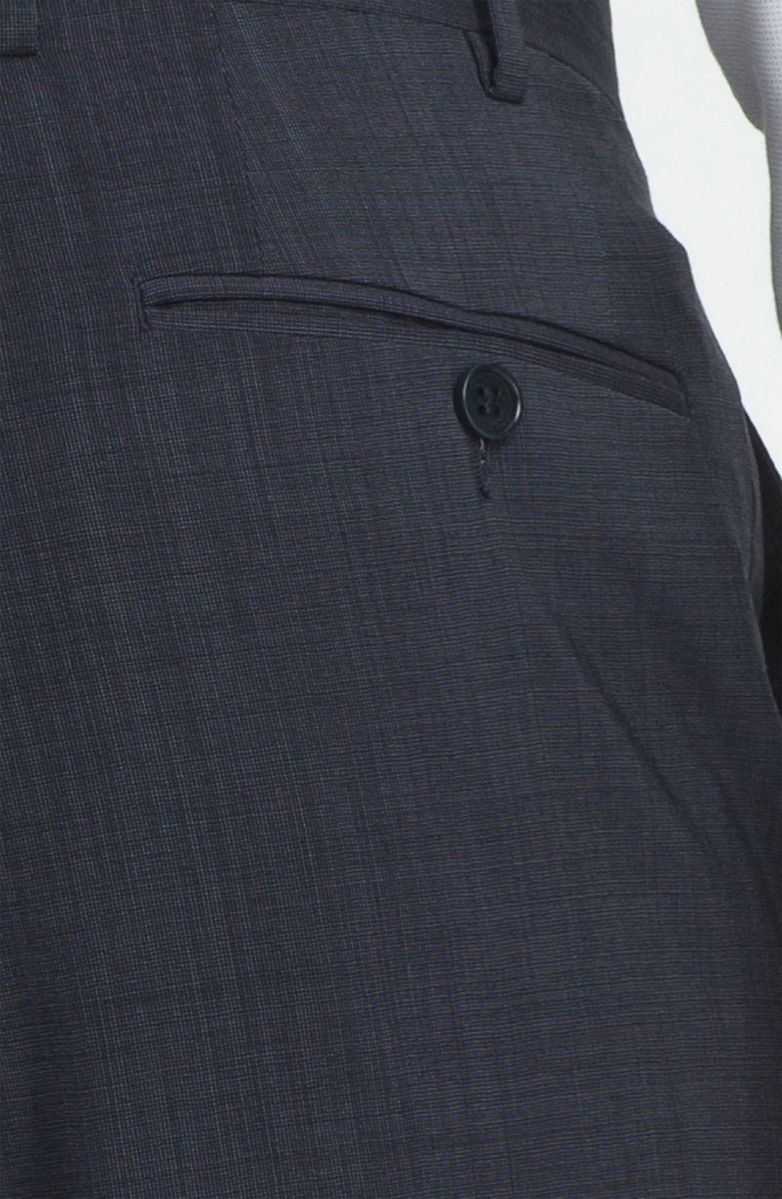CANALI, Flat Front Wool Trousers, Alternate thumbnail 3, color, BLUE