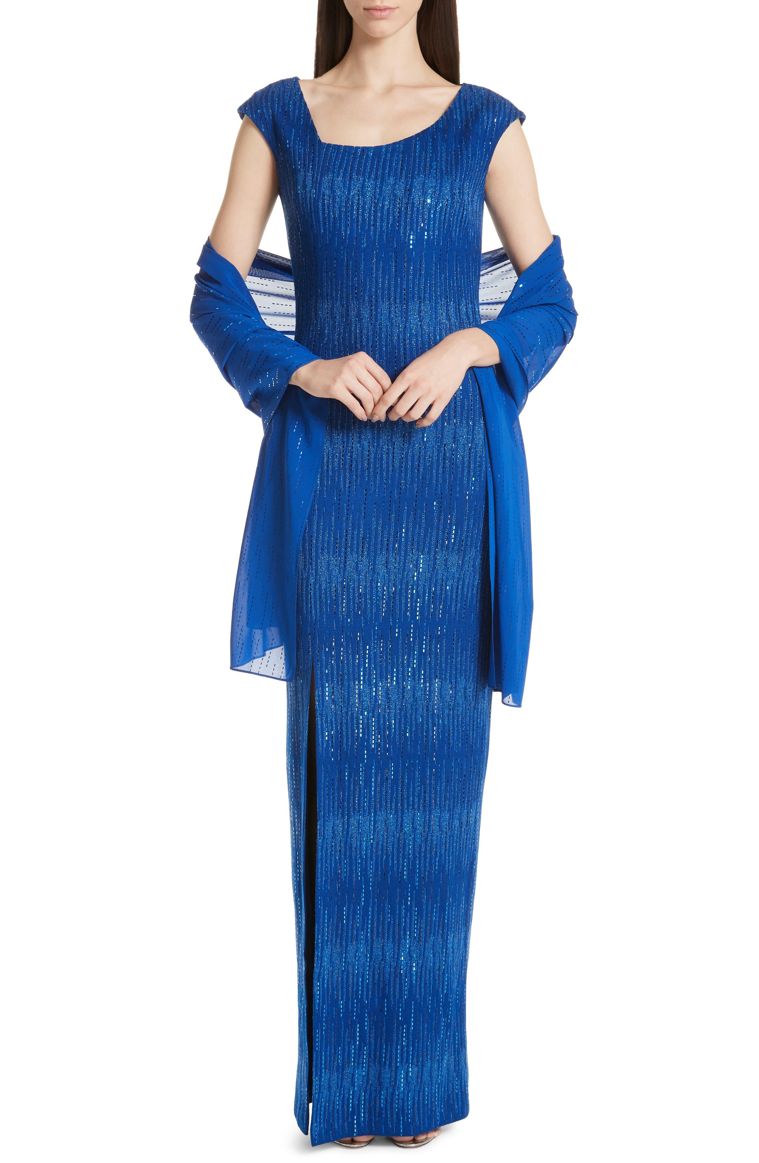 ST. JOHN COLLECTION, Asymmetrical Neck Carrie Knit Evening Dress, Alternate thumbnail 7, color, AZUL